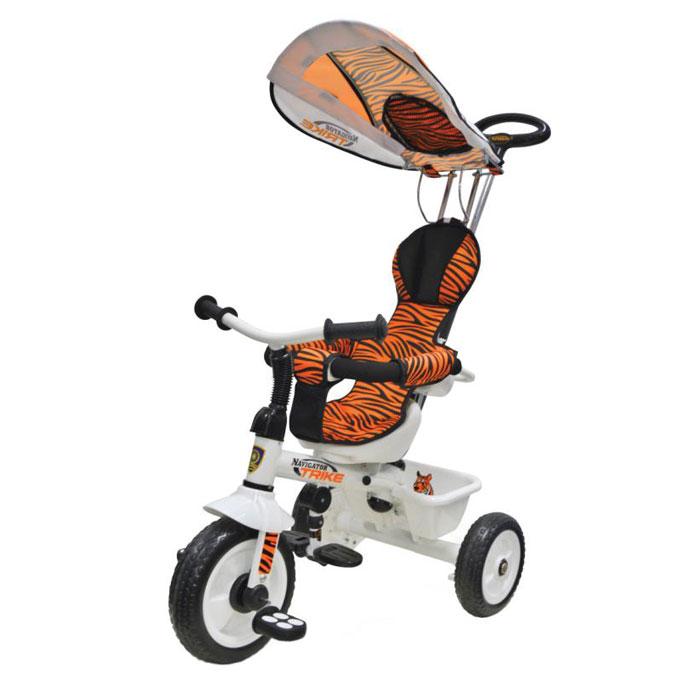 Велосипед Navigator Lexus Trike серия Сафари 3-х колесный Пластиковые колеса, свободный ход педалей, тяга, независимая управляющая ручка, тент, регулируемое сиденье, подножка, тормоз, страховочный обод, звонок, корзина.