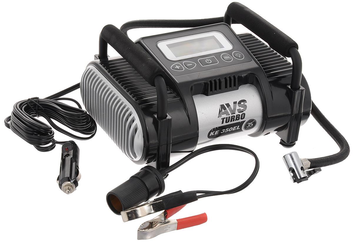 Компрессор автомобильный AVS KE350ELAK-35 DigitalАвтомобильный компрессор AVS KE350EL предназначен для накачки воздухом шин легковых и коммерческих автомобилей. Рабочее напряжение компрессора - 12В. Высокая производительность делает возможным более широкое применение. Автомобильный компрессор может быть использован для накачки мячей, матрасов, проведения покрасочных работ.Преимущества:Современный дизайн.Высокотехнологичная сборка (основные детали сделаны из нержавеющей стали).Высокоточный электронный манометр.Автоматический фиксатор давления отключит компрессор в тот момент, когда давление колеса достигнет установленного вам значения.Резиновые ножки.Автоматическая система защиты от перегрева.Сигнал аварийной остановки.Набор насадок и сумка для хранения в комплекте. Напряжение: 12В. Максимальный ток потребления: 14 А. Максимальное давление: 10 Атм. Производительность: 35 л/мин. Рабочая температура: от -35°С до +80°С. Масса: 2 кг.