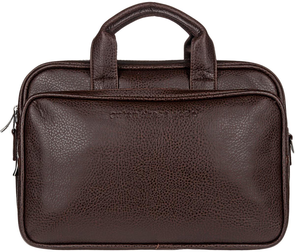 Сумка мужская Antan, цвет: темно-коричневый. 8-48S76245Стильная мужская сумка Antan, выполненная из искусственной кожи, оформлена тисненым логотипом бренда на лицевой стороне. Сумка состоит из одного отделения, закрывающегося на застежку-молнию. Внутри расположены два накладных сетчатых кармана. Снаружи, на передней и задней стенках находятся два объемных накладных кармана на застежках-молниях. Основание защищено от повреждений металлическими ножками.Сумка оснащена двумя удобными ручками. В комплект входит съемный текстильный плечевой ремень регулируемой длины.Сумка - это стильный аксессуар, который подчеркнет вашу изысканность и индивидуальность и сделает ваш образ завершенным.