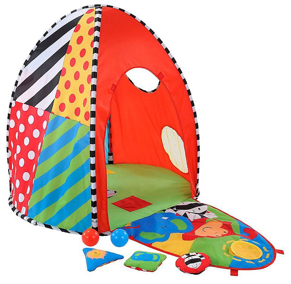 Многофункциональный развивающий домик ELC Sensory Dome с игрушками для самых маленьких непременно понравится вашему малышу. Палатка, изготовленная из гипоаллергенных нетоксичных материалов, оформлена в ярких цветах, одна сторона палатки имеет окошки для игры в прятки, с другой стороны изображены животные. Дверь в палатку легко превращается в коврик с пищалками. Также в комплект входят 3 разноцветных шара из мягкого пластика и 3 небольших текстильных подушечки с яркими рисунками. Игровая палатка побуждает малыша двигаться, способствует психологическому развитию, стимулирует тягу к познанию мира. При помощи такой палатки вы можете научить ребенка названиям животных и цветам. Рекомендуемый возраст: 9-24 месяцев.