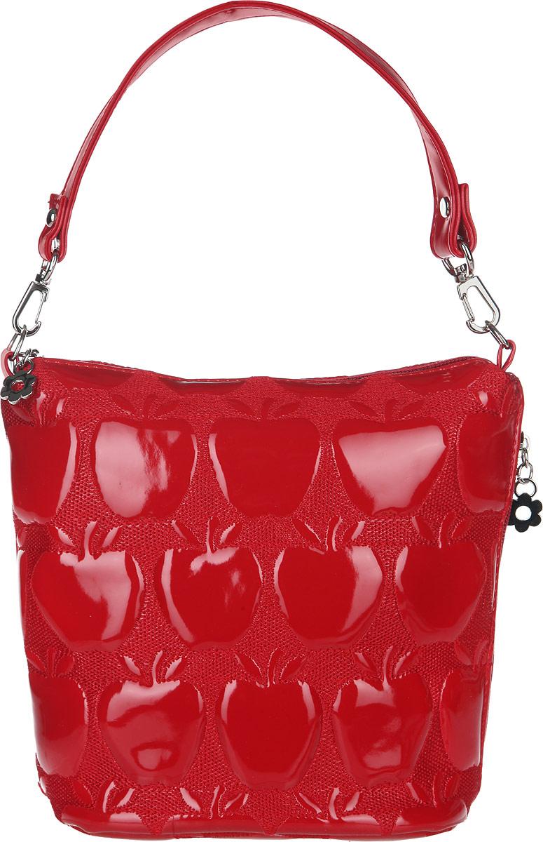 Сумка женская Antan, цвет: красный. 9-633L39845800Стильная сумка Antan изготовлена из искусственной кожи с лакированным покрытием, оформлена фактурным тиснением и металлической фурнитурой.Изделие содержит одно отделение, закрывающееся на молнию, внутри которого расположен врезной карман на молнии. Снаружи, на боковой стороне, расположен врезной карман на молнии. Сумка оснащена съемным плечевым ремнем регулируемой длины и съемной ручкой.Оригинальный аксессуар позволит вам завершить образ и быть неотразимой.