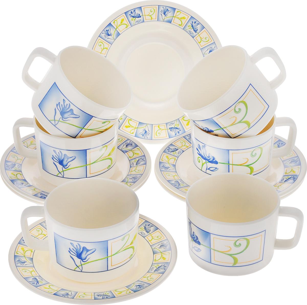 Набор чайный Calve, 12 предметов. CL-2510115510Чайный набор Calve состоит из шести чашек и шести блюдец, выполненных из высококачественного пластика. Изделия оформлены ярким рисунком. Изящный набор эффектно украсит стол к чаепитию и порадует вас функциональностью и ярким дизайном. Можно мыть в посудомоечной машине.Диаметр блюдца: 16,5 см. Объем чашки: 330 мл. Диаметр чашки (по верхнему краю): 9 см. Высота чашки: 7 см.