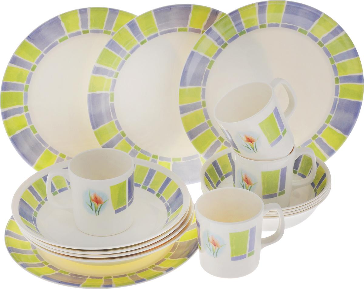 Набор столовой посуды Calve, 16 предметов115510Набор Calve состоит из 4 суповых тарелок, 4 обеденныхтарелок, 4 мисок и 4 чашек. Изделия выполнены извысококачественного пластика, имеют яркий дизайн с изящным орнаментом. Посуда отличается прочностью,гигиеничностью и долгим сроком службы, она устойчива к появлению царапин. Такой набор прекрасно подойдет как для повседневного использования, так идля праздников или особенных случаев. Набор столовой посуды Calve - это не только яркий иполезный подарок для родных и близких, а также великолепное дизайнерскоерешение для вашей кухни или столовой. Диаметр суповой тарелки (по верхнему краю): 23 см. Высота суповой тарелки: 4,5 см.Диаметр обеденной тарелки (по верхнему краю): 26,5 см. Высота обеденной тарелки: 1,7 см. Диаметр миски (по верхнему краю): 17,5 см. Высота миски: 4,5 см. Объем чашки: 355 мл.Диаметр чашки (по верхнему краю): 8,5 см.Высота чашки: 9 см.