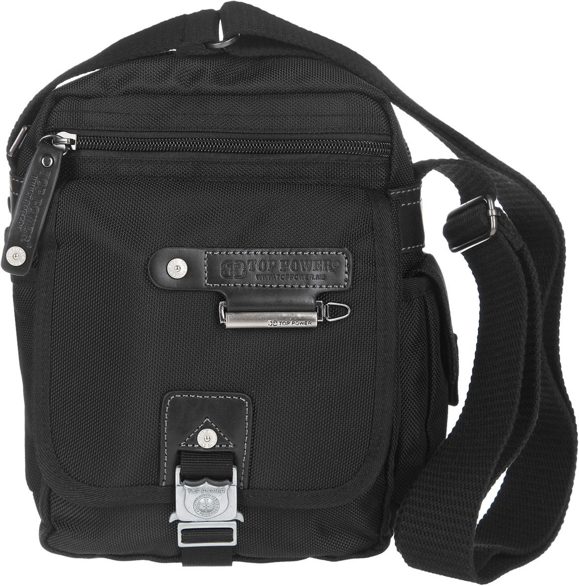 Сумка-планшет мужская Top Power, цвет: черный. 1385 TP3-47670-00504Стильная мужская сумка-планшет Top Power выполнена из нейлона, полиэстера и искусственной кожи. Изделие имеет одно основное отделение, которое закрывается на застежку-молнию. Внутри находятся прорезной карман на застежке-молнии, два накладных открытых кармана и накладной карман, закрывающийся на клапан с застежкой-липучкой. Снаружи, на передней стенке располагается прорезной карман на застежке-молнии, под клапаном с застежкой-защелкой - два накладных открытых кармана и два держателя для авторучек. По бокам накладные карманы, один из которых закрывается на застежку-липучку, второй - на клапан с застежкой-липучкой. На задней стенке предусмотрен дополнительный прорезной карман на застежке-молнии. Сумка оснащена текстильным плечевым ремнем регулируемой длины. Удобная и стильная сумка Top Power призвана подчеркнуть ваш неповторимый стиль.