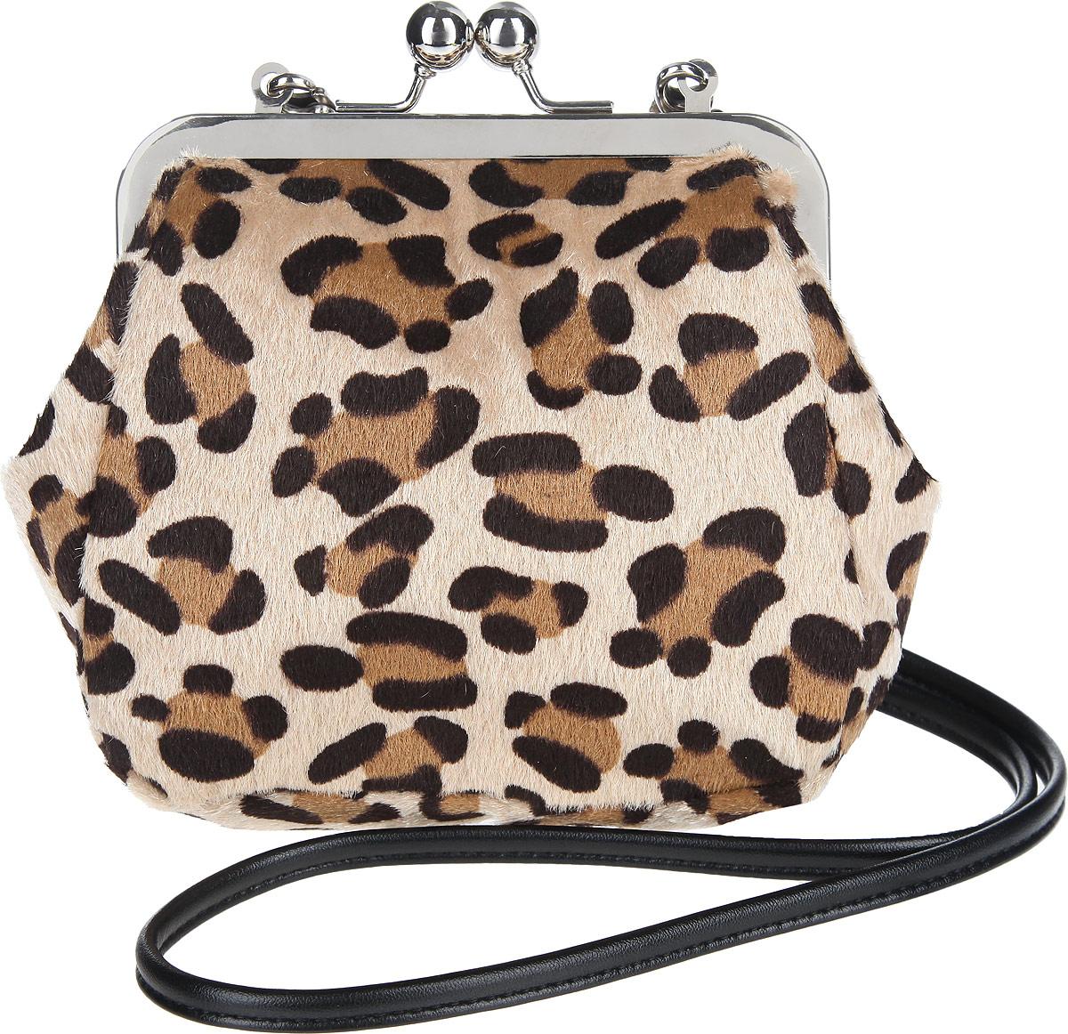 Сумка женская Antan, цвет: черный. 9-5S76245Стильная сумочка Antan изготовлена из искусственной кожи и меха, оформлена леопардовым принтом.Изделие содержит одно отделение, закрывающееся на рамочный замок. Сумка оснащена съемным плечевым ремнем.Оригинальный аксессуар позволит вам завершить образ и быть неотразимой.