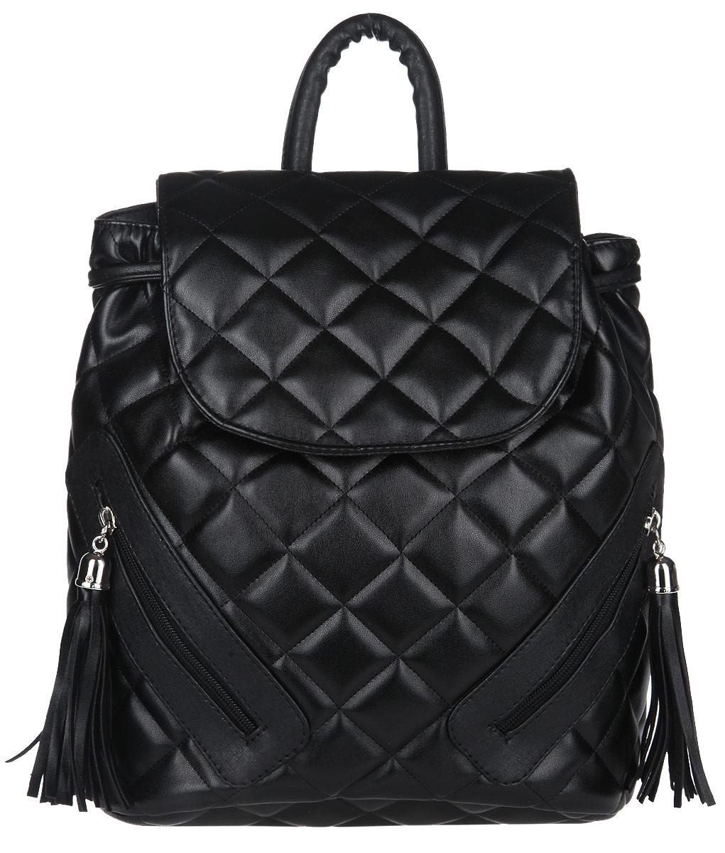 Рюкзак женский Antan, цвет: черный, графит. 891KV996OPY/MСтильная компактная сумочка от Antan из лаковой экокожи с прострочкой создана для женщин, ценящих лаконичный дизайн в сочетании с функциональностью и комфортом. Стильный и практичный вариант на каждый день. Сумка носится в руке или на плече. Украшена серебристой фурнитурой и стильным фирменным брелком. Такая модель подчеркнет великолепный вкус своей обладательницы. Закрывается на молнию.