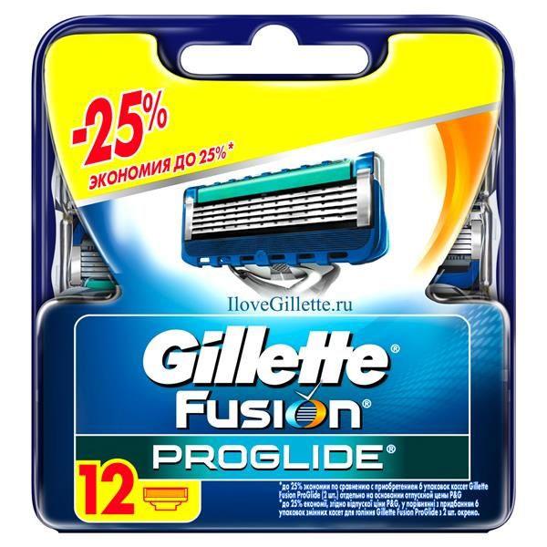 Сменные кассеты для бритья Gillette Fusion ProGlide, 12 штGIL-81424007Gillette - лучше для мужчины нет!Gillette Fusion ProGlide – это самая инновационная бритва от Gillette, которая обеспечивает действительно революционное скольжение и гладкость бритья.Новая бритва оснащена самыми тонкими лезвиями от Gillette со специальным покрытием, снижающим сопротивление. Для революционного скольжения и невероятной гладкости бритья, даже по сравнению с Fusion.Невооруженным глазом вы можете не заметить все последние инновации в НОВЫХ бритвах Gillette Fusion ProGlide и Gillette Fusion ProGlide Power, но после первого раза вы почувствуете, что бритье превратилось в скольжение. - При покупке упаковки сменных кассет ProGlide или ProGlide Power из 12 шт. вы экономите до 25% по сравнению с покупкой шести упаковок из 2 шт. (на основании отпускной цены Procter&Gamble). - Самые тонкие лезвия от Gillette для революционного скольжения и гладкости бритья (первые лезвия в кассетах Fusion ProGlide тоньше, чем лезвия Fusion). - Расширенная увлажняющая полоска с минеральными маслами и полимерами обеспечивает лучшее скольжение. - Каналы для удаления излишков геля гарантируют максимально комфортное бритье. - Улучшенное лезвие-триммер оптимизирует бритье на сложных участках: виски, область под носом, шея. - Стабилизатор лезвий поддерживает оптимальное расстояние между лезвиями во время бритья. Характеристики:Материал: пластик, металл. Количество в упаковке: 12 шт. Товар сертифицирован.Состав смазывающей полоски: PEG-115M, PEG-7M, PEG-100, Silica, Mineral Oils, Tocopheryl Acetate, Pentaerythrityltetra-di-t-butyl, Hydroxyhydrocinnamate, Tris (di-t-butyl) Phosphite, Aloe Barbadensis Leaf, Juice, Bht, Ethylene Glycol.