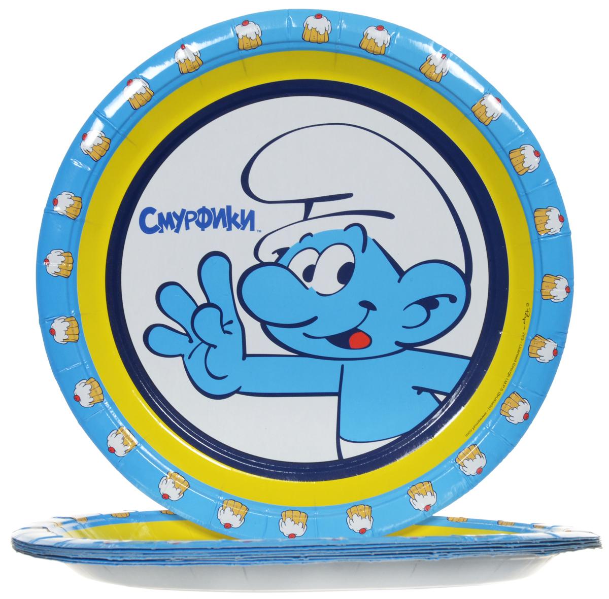 Смурфики Набор одноразовых тарелок цвет голубой 10 шт -  Сервировка праздничного стола