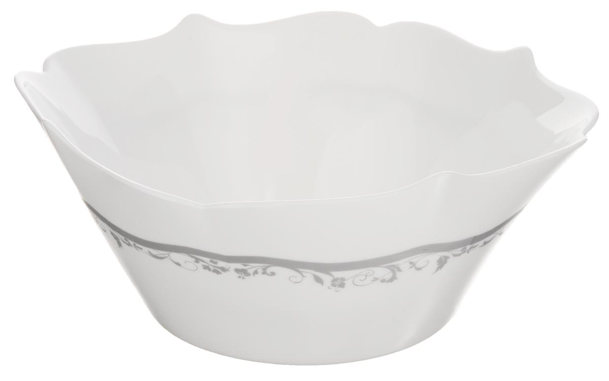Салатник Luminarc Authentic Silver, цвет: белый, серый, 23 х 23 см115510Салатник Luminarc Authentic Silver, изготовленный из ударопрочного стекла, имеет элегантный дизайн с красивым цветочным орнаментом. Он прекрасно подойдет для подачи различных блюд: закусок, салатов или фруктов. Такой салатник украсит ваш праздничный или обеденный стол, а оригинальное исполнение понравится любой хозяйке. Размер салатника (по верхнему краю): 23 х 23 см.Высота салатника: 9 см.