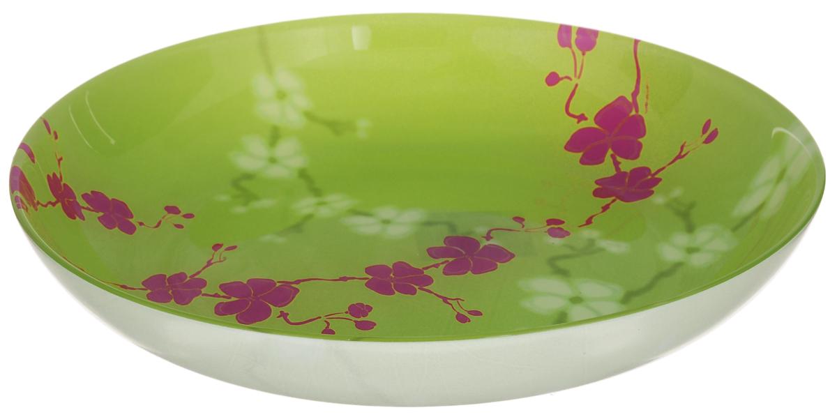 Тарелка глубокая Luminarc Kashima, цвет: зеленый, розовый, диаметр 20 смH3658Глубокая тарелка Luminarc Kashima выполнена из ударопрочного стекла и имеет классическую круглую форму. Она прекрасно впишется в интерьер вашей кухни и станет достойным дополнением к кухонному инвентарю. Тарелка Luminarc Kashima подчеркнет прекрасный вкус хозяйки и станет отличным подарком. Диаметр тарелки (по верхнему краю): 20 см.