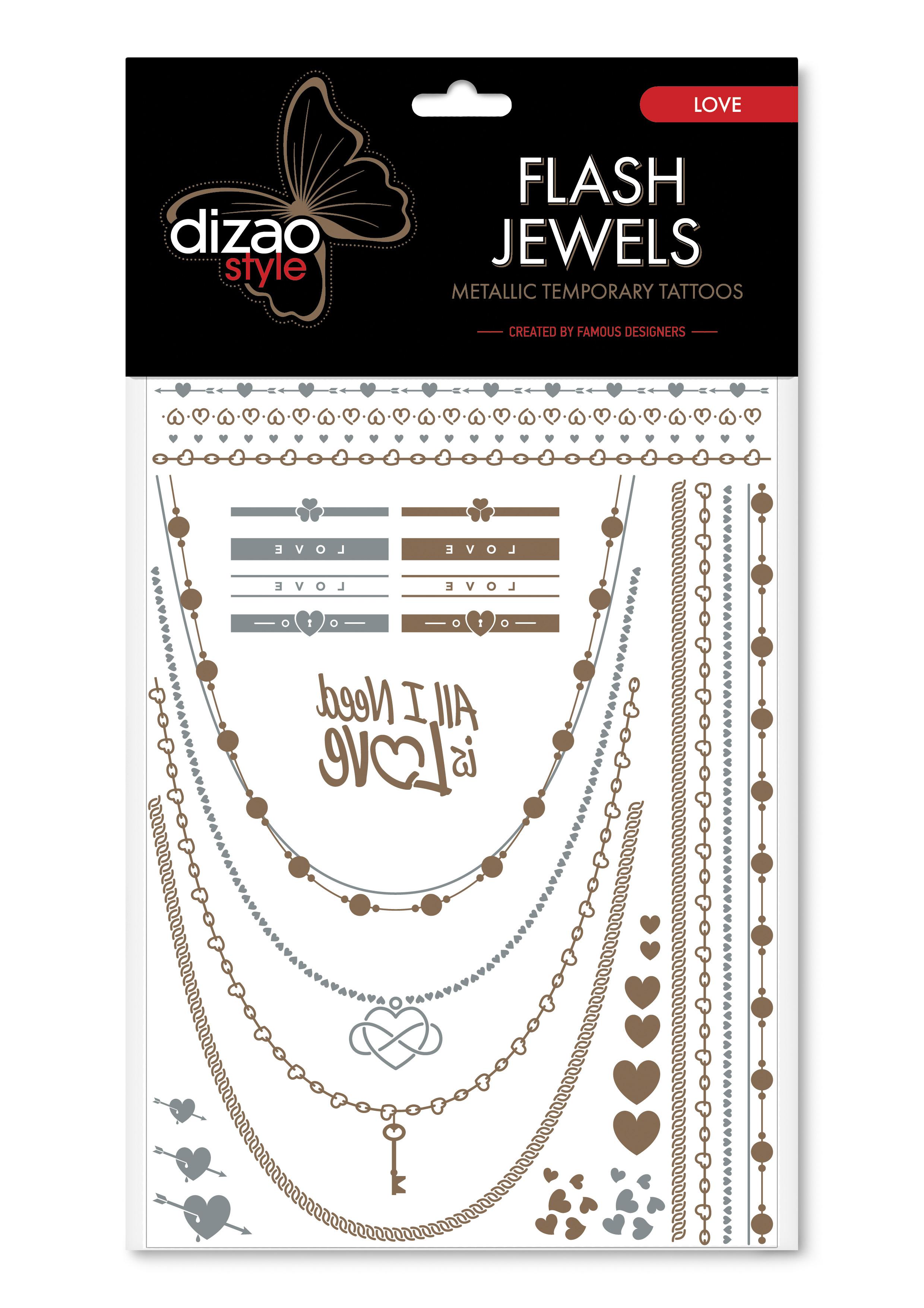 Dizao Временные золотые тату Flash Jewels: Любовь5292452002502Оригинальные золотистые временные татуировки Dizao Flash Jewels: Любовь позволят вам добавить изысканный штрих к вашему образу. В набор входит множество разнообразных дизайнов, которые вы сможете сочетать по своему вкусу.Откройте для себя мир идеальных линий и оригинальных дизайнов, которые заблистают на вашей коже благородным блеском золота и серебра. Позвольте украшениям стать органичной частью вашего тела. Следуйте самым последним тенденциям и всегда оставайтесь на пике моды. Подарите себе роскошь и непревзойденный стиль с тату Dizao.Премиальные золотые временные тату Flash Jewels: - имеют уникальные дизайны -держатся на коже продолжительное время, не теряя привлекательности-легко наносятся и удаляются-не вызывают покраснений и раздражений, не содержат токсичных компонентов Применять временные тату невероятно легко: вырежьте понравившуюся аппликацию, наложите ее рисунком вниз на сухую чистую кожу, прижмите к аппликации мокрую губку или ватный диск в течении 30 секунд, а затем удалите бумагу и позвольте аппликации высохнуть. Для того, чтобы удалить временную татуировку, нанесите на аппликацию косметическое или оливковое масло и осторожно сотрите ватным диском.