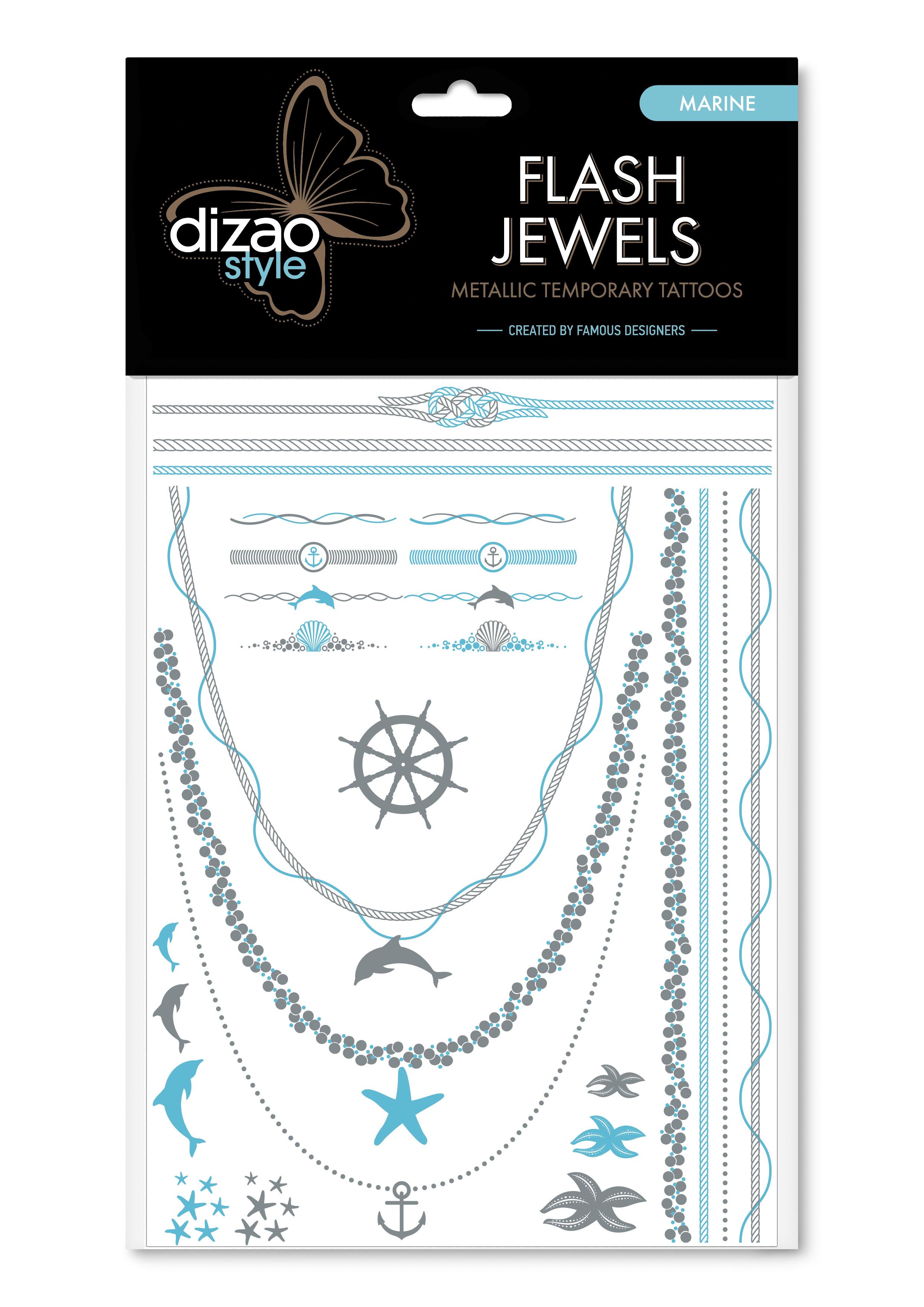 Dizao Временные металлические тату Flash Jewels: Морская серия1411МОригинальные временные татуировки Dizao Flash Jewels: Морская серия позволят вам добавить изысканный штрих к вашему образу. В набор входит множество разнообразных дизайнов, которые вы сможете сочетать по своему вкусу.Откройте для себя мир идеальных линий и оригинальных дизайнов, которые заблистают на вашей коже благородным блеском золота и серебра. Позвольте украшениям стать органичной частью вашего тела. Следуйте самым последним тенденциям и всегда оставайтесь на пике моды. Подарите себе роскошь и непревзойденный стиль с тату Dizao.Премиальные золотые временные тату Flash Jewels: - имеют уникальные дизайны -держатся на коже продолжительное время, не теряя привлекательности-легко наносятся и удаляются-не вызывают покраснений и раздражений, не содержат токсичных компонентов Применять временные тату невероятно легко: вырежьте понравившуюся аппликацию, наложите ее рисунком вниз на сухую чистую кожу, прижмите к аппликации мокрую губку или ватный диск в течении 30 секунд, а затем удалите бумагу и позвольте аппликации высохнуть. Для того, чтобы удалить временную татуировку, нанесите на аппликацию косметическое или оливковое масло и осторожно сотрите ватным диском.