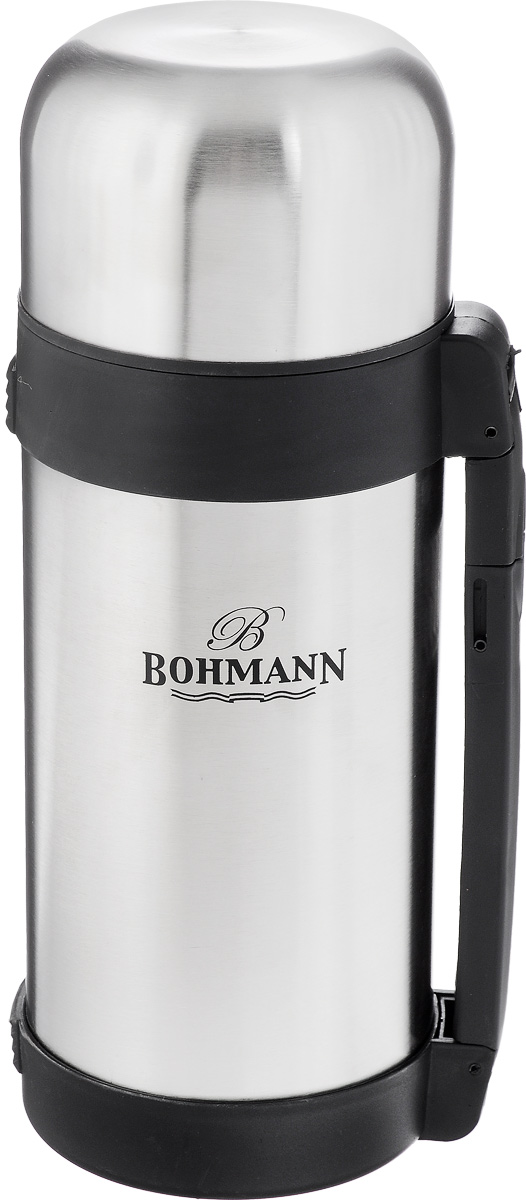 Термос Bohmann, 1,2 л. 4212BH/12VT-1520(SR)Многофункциональный термос Bohmann изготовлен из легкой и прочной нержавеющей стали с матовой полировкой. Он имеет небьющуюся внутреннюю стальную колбу и изолированную крышку с дополнительной пластиковой чашкой внутри. Двойные стенки обеспечивают сохранение температуры помещенных внутрь продуктов. В пространстве между внешней и внутренней колбой создан вакуум, благодаря чему термос еще дольше сохраняет температуру. Термос оснащен выдвигающейся ручкой и съемным ремнем для легкого переноса. Откручивающееся узкое горлышко позволяет удобно наливать жидкость, откручивающееся широкое горлышко идеально для пищи. Термос прекрасно подходит для вторых блюд, супов и напитков. Сохраняет пищу горячей несколько часов, а холодной - до 24 часов.