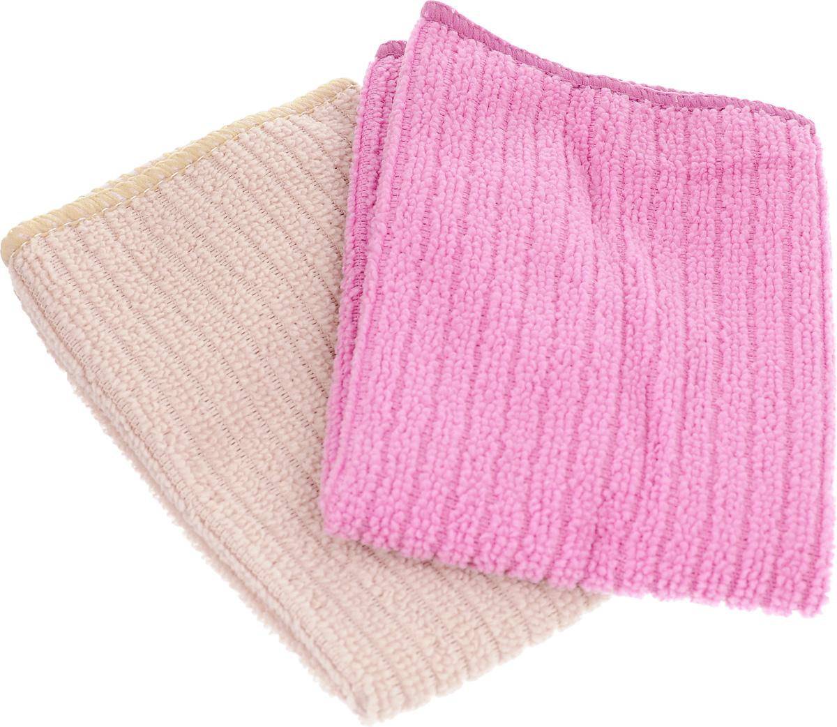 Салфетка из микрофибры Home Queen, цвет: розовый, бежевый, 30 х 30 см, 2 шт531-105Салфетка Home Queen изготовлена из микрофибры. Это великолепная гипоаллергенная ткань, изготовленная из тончайших полимерных микроволокон. Салфетка из микрофибры может поглощать количество пыли и влаги, в 7 раз превышающее ее собственный вес. Многочисленные поры между микроволокнами, благодаря капиллярному эффекту, мгновенно впитывают воду, подобно губке. Благодаря мелким порам микроволокна, любые капельки, остающиеся на чистящей поверхности, очень быстро испаряются, и остается чистая дорожка без полос и разводов. В сухом виде при вытирании поверхности волокна микрофибры электризуются и притягивают к себе микробов, мельчайшие частицы пыли и грязи, удерживая их в своих микропорах.