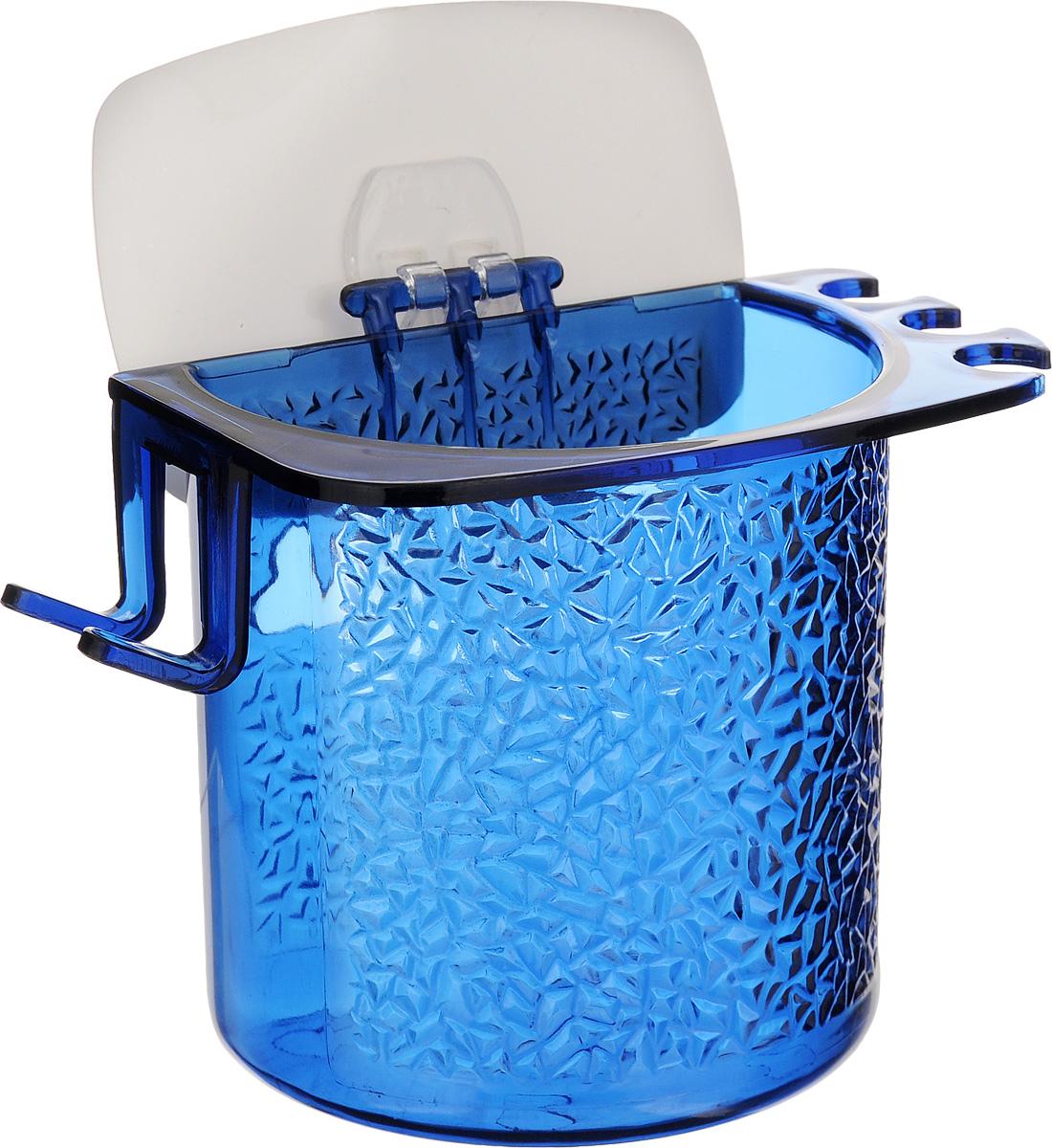 Стакан для ванной Fresh Code, на липкой основе, цвет: синий531-105Стакан для ванной комнаты Fresh Code выполнен из ABS пластика. Крепление на липкой основе многократного использования идеально подходит для гладкой поверхности. С оборотной стороны изделие оснащено двумя отверстиями для удобного размещения на стене.В стакане удобно хранить зубные щетки, пасту и другие принадлежности. Аксессуары для ванной комнаты Fresh Code стильно украсят интерьер и добавят в обычную обстановку яркие и модные акценты. Стакан идеально подойдет к любому стилю ванной комнаты.