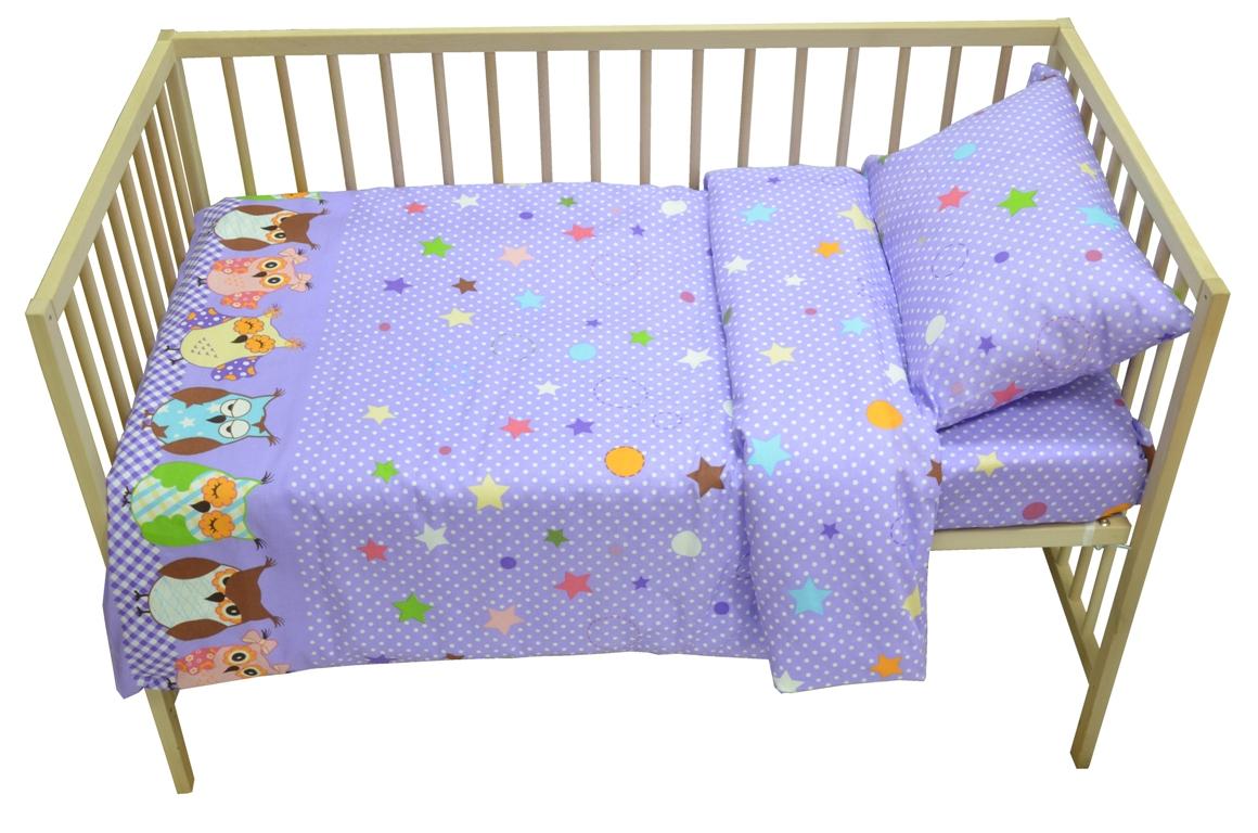 Bonne Fee Комплект белья для новорожденных Совы цвет фиолетовый2615S545JBКомплект постельного белья Совы является экологически безопасным для маленьких детей, так как выполнен из натурального хлопка. Веселый, жизнерадостный дизайн поднимет настроение любому.