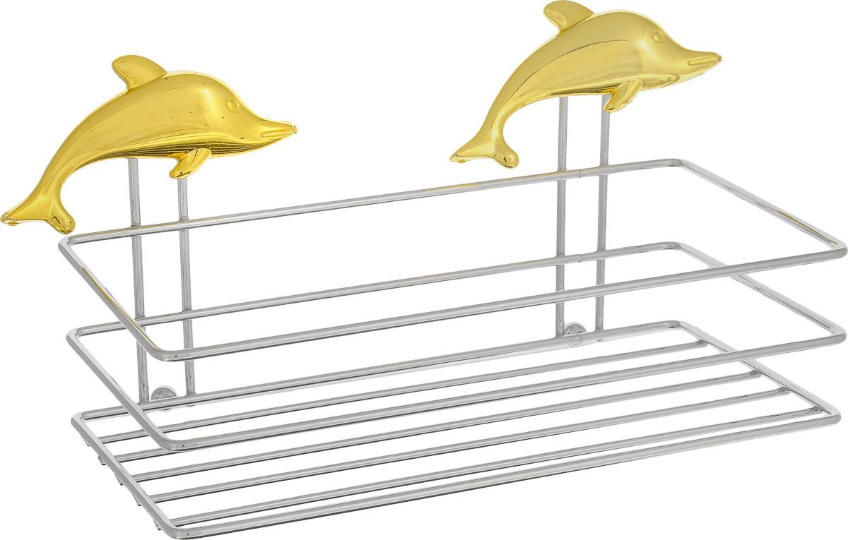 Полка для мочалки Fresh Code Море. Дельфин, на присоске, цвет: золотистый, 20 х 10 х 10 см391602Полка для мочалки Fresh Code Море. Дельфин выполнена из хромированной стали и украшенафигуркой дельфина из пластика. Изделие крепится к стене при помощи двух вакуумных присосок. Полка поможет создать настроение вашей ванной комнаты. Подходит для всех типов гладких поверхностей.