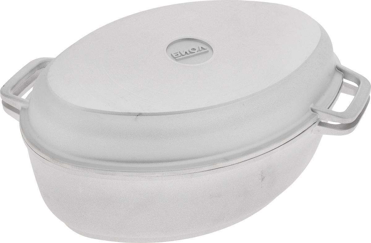 Гусятница Биол с крышкой-сковородой, 4 л68/5/4Гусятница Биол, выполненная из высококачественного литого алюминия, имеет утолщенное дно и оснащена крышкой. Благодаря особой конструкции корпуса в гусятнице замечательно готовить томленые блюда. Она равномерно прогревается и долго удерживает тепло. Приготовленное блюдо получается особенно вкусным, а в продуктах сохраняется больше полезных веществ. Гусятница не подвержена деформации, легко моется.Крышку гусятницы можно использовать как сковороду (гриль).Подходит для газовых, электрических и стеклокерамических плит. Не подходит для индукционных плит. Размер гусятницы по верхнему краю (с учетом ручек): 31,2 х 23 см.Высота гусятницы (без учета крышки-сковороды): 11 см.Размер крышки-сковороды (по верхнему краю): 31,2 х 23 см.Высота крышки-сковороды: 5 см.
