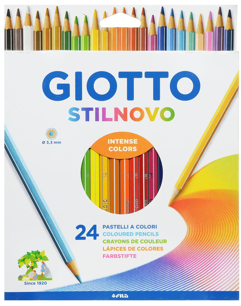 Giotto Набор цветных карандашей Stilnovo 24 цвета256600Цветные карандаши Glotto Stilnovo непременно понравятся вашему юному художнику. Набор включает в себя 24 ярких насыщенных цветных карандаша гексагональной формы с серебряным нанесением по ребру грани. Идеально подходят для школы. Карандаши изготовлены из сертифицированного дерева, экологически чистые, имеют прочный неломающийся грифель, не требующий сильного нажатия и легко затачиваются. На рубашке карандаша имеется место для нанесения имени. Порадуйте своего ребенка таким восхитительным подарком!