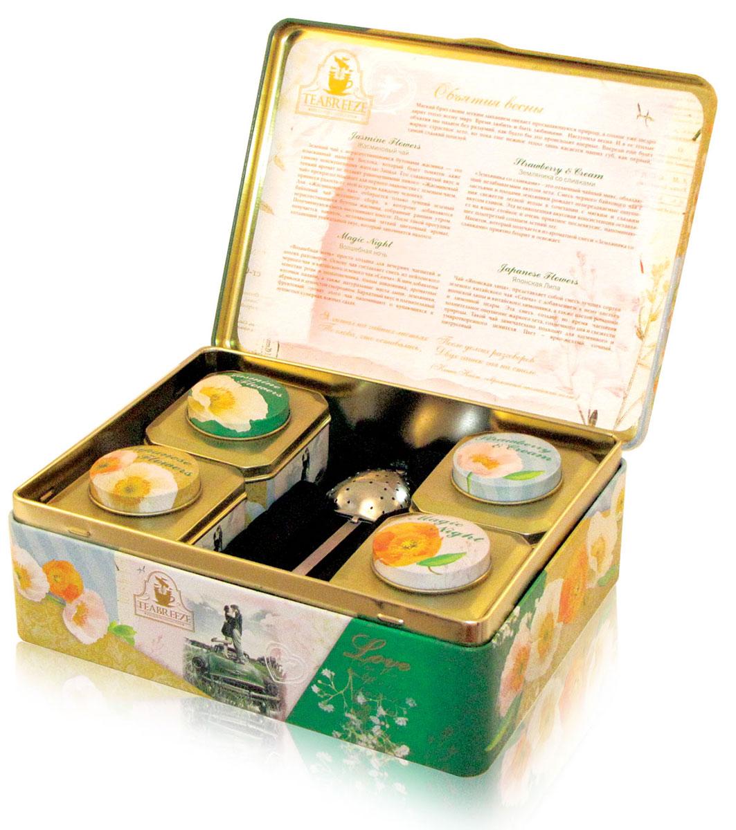 Teabreeze Объятия весны чай ароматизированный в подарочной шкатулке, 200 г4620009892008Чайная шкатулка Объятия весны включает в себя несколько видов чая.Чай Земляника со сливками 50 г.Земляника со сливками - это отличный чайный микс, обладающий незабываемым вкусом лета. Смесь черного байхового чая с листьями и плодами земляники рождает непередаваемые ощущения свежести лесной ягоды в сочетании с мягким и сладким вкусом сливок. Эта великолепная вкусовая консистенция оставляет на языке стойкое и очень приятное послевкусие, напоминающее подогретый солнцем летний лес. Напиток, который получается из ароматной смеси Земляника со сливками приятно бодрит и освежает.Чай Волшебная ночь 50 г.Волшебная ночь просто создана для вечерних чаепитий и долгих разговоров. Основу чая составляет смесь из цейлонского черного чая и китайского зеленого чая Сенча. К ним добавлены лепестки розы и подсолнечника, плоды шиповника, ароматные кусочки папайи, а также натуральные масла дыни, земляники, абрикоса и душистой смородины. Бархатный вкус и пленительный фруктовый аромат этого чая напоминают о купающихся в душистых сумерках южных садах.Чай Японская липа 50 г.Чай Японская липа, представляет собой смесь лучших сортов зеленого китайского чая Сенча с добавлением к нему цветов ромашки и японской липы, а так же листьев китайского лимонника и лимонной цедры. Эта смесь создает во время чаепития волнительное ощущение жаркого лета, солнечного дня и свежести природы. Такой чай замечательно подходит для вдумчивого и умиротворенного ценителя. Цвет – ярко - желтый, сочный, цитрусовый.Жасминовый чай 50 г.Зеленый чай с нераспустившимися бутонами жасмина — это изысканный напиток Востока, который будет понятен даже самому неискушенному жителю Запада. Его сладковатый вкус и тонкий аромат не оставят равнодушными никого. Жасминовый чай прекрасно подойдет для первого знакомства с зеленым чаем, привнеся радость от этой встречи каждому человеку. Для Жасминового чая отбирается только лучший зеленый байховый чай весен