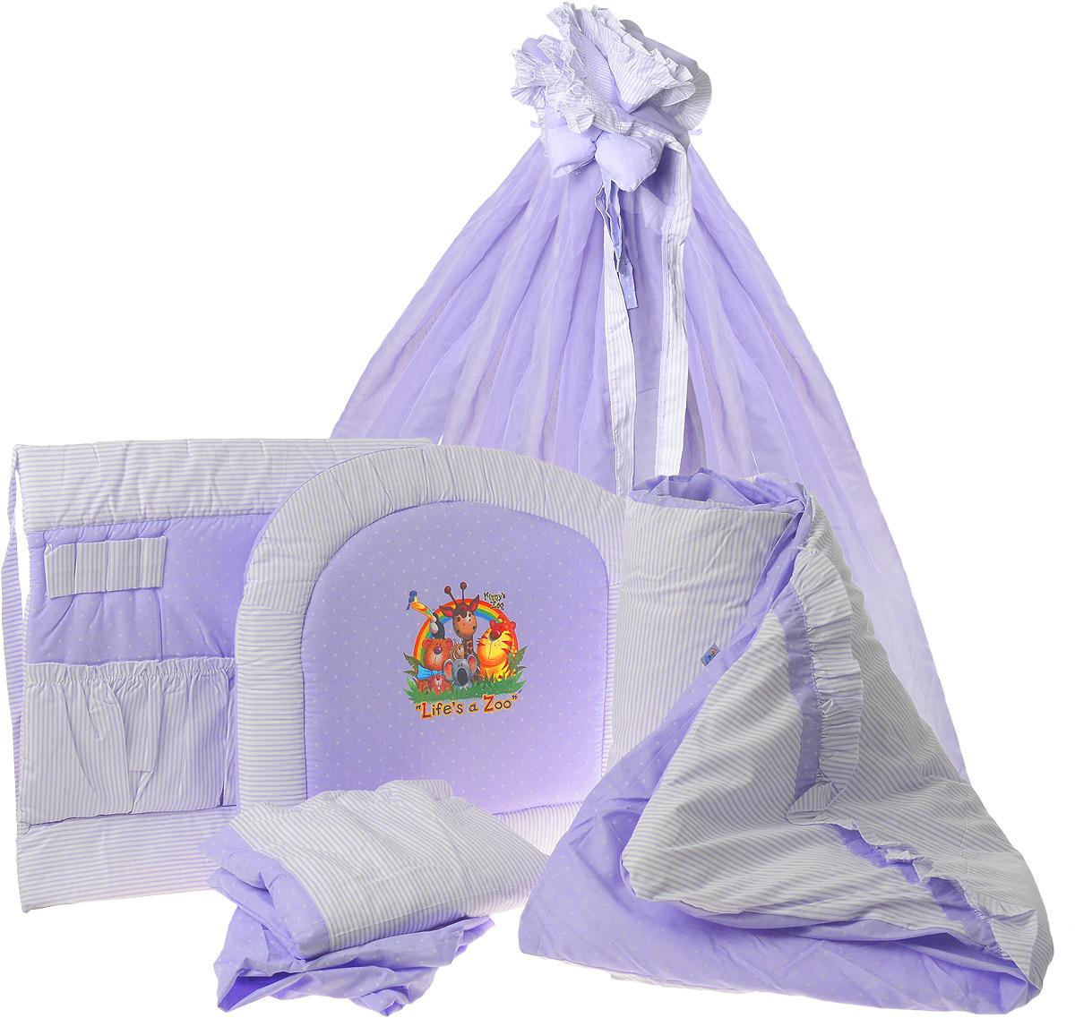 Топотушки Комплект детского постельного белья Нежность цвет сиреневый 8 предметов531-401Комплект постельного белья Топотушки Нежность из восьми предметов включает все необходимые элементы для детской кроватки.Комплект создает для вашего ребенка уют, комфорт и безопасную среду с рождения. Современный дизайн и цветовые сочетания помогают ребенку адаптироваться в новом для него мире.Комплект хорошо вписывается в интерьер, как детской комнаты, так и спальни родителей.Российское происхождение комплекта гарантирует стабильно высокое качество, соответствие актуальным пожеланиям потребителей.Комплект включает в себя: балдахин 3 метра, охранный бампер 360 см х 40 см, подушка 40 см х 60 см, одеяло 140 см х 110 см, наволочка 40 см х 60 см, пододеяльник 147 см х 112 см, простынь на резинке 120 см х 60 см, карман прикроватный.Мягкий борт защитит малыша от сквозняков и убережет от возможных ударов о бортики кроватки. Наполнитель борта - холлофайбер. Балдахин длиной 3 метра создает для вашего малыша индивидуальную зону комфорта: ограничивает проникновение яркого света, задерживает шум, препятствует сквознякам. В детской балдахин в свою очередь служит украшением интерьера. Одеяло абсолютно гипоаллергенно, воздушное и легкое, имеет хорошую теплоустойчивость. Легко стирается и не теряет свой объем.Наполнитель - холлофайбер. Подушка абсолютна гипоаллергенна, ее высота оптимальная для головы новорожденного малыша согласно современным исследованиям. Простынь на резинке обеспечивает идеальную посадку на матрац, не позволит лишним складкам и заломам создать для ребенка дискомфорт. Прикроватный карман - необходимый и очень удобный атрибут в детской комнате для различных принадлежностей по уходу за вашим малышом. Он не только создает уют, но и дополнительные удобства в уходе за младенцем. Карман предназначен для бутылочек, гигиенических средств и других нужных вещей. Все постельные принадлежности в комплекте изготовлены из 100% натурального хлопка.Комплект упакован в удобную пластиковую сум