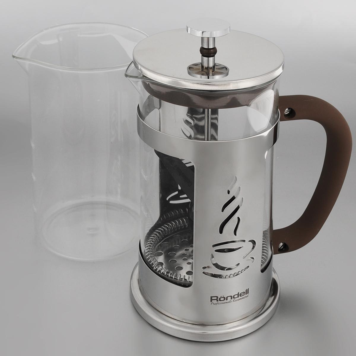Френч-пресс Rondell Mocco&Latte, с мерной ложкой, со сменной колбой, 1 лRDS-491Френч-пресс Rondell Mocco&Latte изготовлен из высококачественной нержавеющей стали, жаропрочного стекла и пластика. Жаропрочное стекло может выдерживать температуру до 180°С.Засыпая чайную заварку или кофе под фильтр, заливая горячей водой, вы получаете ароматный напиток с оптимальной крепостью и насыщенностью. Остановить процесс заваривания легко, для этого нужно просто опустить поршень, и все уйдет вниз, оставляя вверху напиток, готовый к употреблению. Френч-пресс Rondell Mocco&Latte позволит быстро и просто приготовить свежий и ароматный кофе или чай.В комплект входит сменная колба и мерная ложка.Диаметр френч-пресса по верхнему краю (без учета крышки): 10 см. Высота френч-пресса: 24 см. Длина ложки: 10 см.Диаметр рабочей поверхности ложки: 4,5 см.