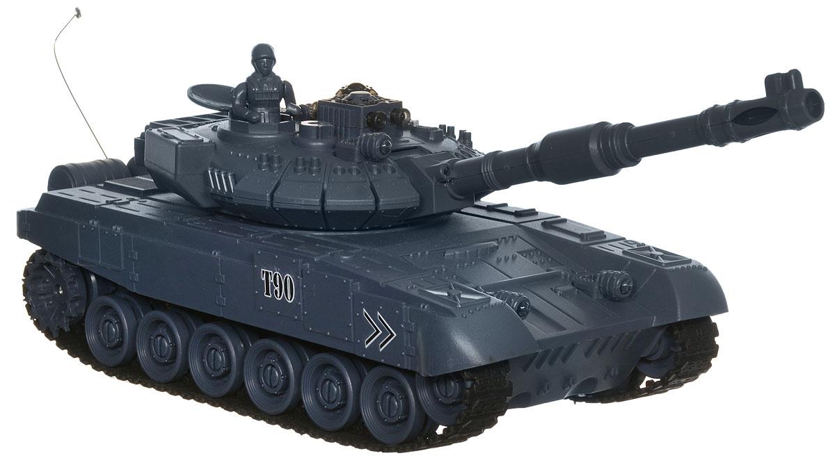 """Танк на радиоуправлении Balbi """"Т-90"""" - отличный подарок не только ребенку, но и взрослому, с помощью которого можно устроить настоящий танковый бой в домашних условиях. Танк на гусеничном ходу изготовлен из прочного пластика и снабжен пушкой. При помощи пульта управления танк может двигаться вперед, назад, поворачивать влево и вправо, разворачиваться на месте. Башня поворачивается на 280°, ствол поднимается и опускается. Угол подъема танка: до 45°. Танк снабжен инфракрасным датчиком, системой инфракрасного наведения и счетчиком жизней. Вы можете устроить танковое сражение: цельтесь пушкой в инфракрасный датчик другого танка. После попадания на боевой машине гаснет индикатор жизни и танк останавливается. В комплект входит: танк, пульт управления, аккумулятор, сетевое зарядное устройство и подробная инструкция на русском языке. Танк работает от аккумулятора напряжением 4,8V (входит в комплект). Для работы пульта управления необходимы 2 батарейки..."""