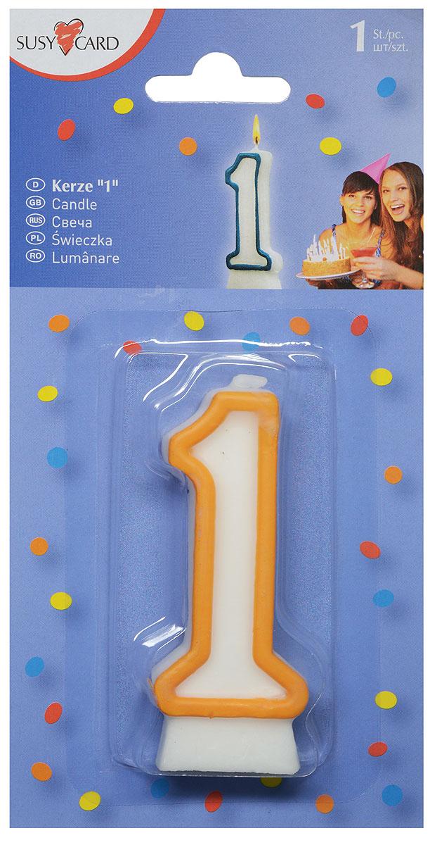 Susy Card Свеча-цифра для торта 1 год цвет желтый -  Свечи для торта