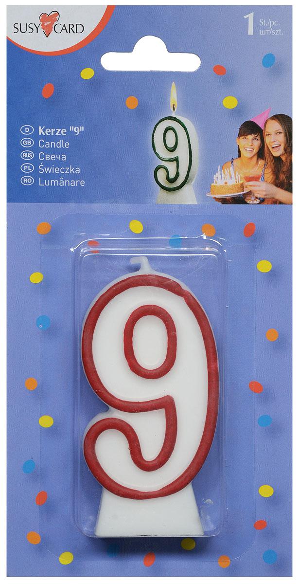 Susy Card Свеча-цифра для торта 9 лет цвет красный -  Свечи для торта