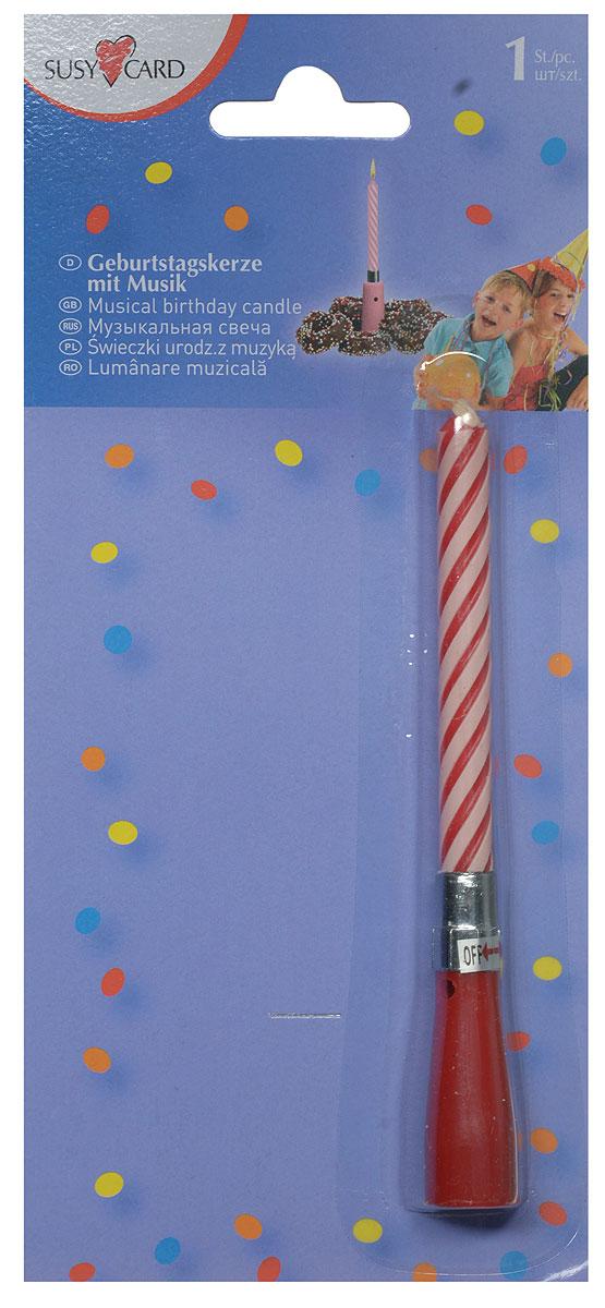 """Оригинальная витая свеча """"Happy Birthday"""" в музыкальном подсвечнике эффектно украсит праздничный стол и создаст особенную волшебную атмосферу на вашем празднике. Свеча выполнена из качественного парафина. Музыка начинает играть после того, как повернули свечу в подсвечнике против часовой стрелки. Выключается музыка поворотом по часовой стрелке. Основание свечи можно использовать многократно. С этой свечой ваш праздник станет еще удивительнее и веселее."""