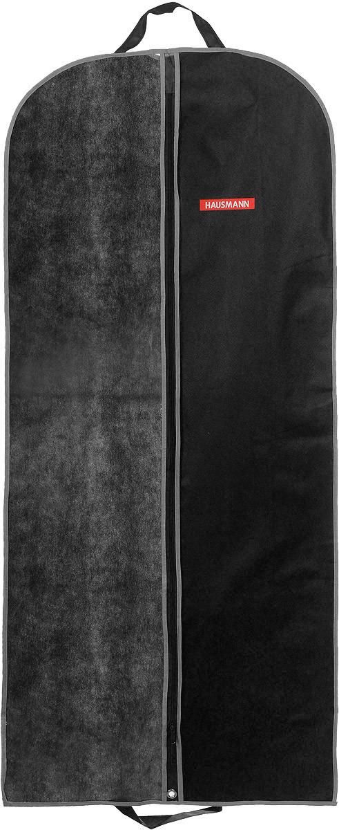 Чехол для одежды Hausmann, подвесной, с прозрачной вставкой, цвет: черный, 60 х 140 смES-412Подвесной чехол для одежды Hausmann на застежке-молнии выполнен из высококачественного нетканого материала. Чехол снабжен прозрачной вставкой из ПВХ, что позволяет легко просматривать содержимое. Изделие подходит для длительного хранения вещей.Чехол обеспечит вашей одежде надежную защиту от влажности, повреждений и грязи при транспортировке, от запыления при хранении и проникновения моли. Чехол обладает водоотталкивающими свойствами, а также позволяет воздуху свободно поступать внутрь вещей, обеспечивая их кондиционирование. Это особенно важно при хранении кожаных и меховых изделий.Чехол для одежды Hausmann создаст уютную атмосферу в гардеробе. Лаконичный дизайн придется по вкусу ценительницам эстетичного хранения и сделают вашу гардеробную изысканной и невероятно стильной.Размер чехла (в собранном виде): 60 х 140 см.