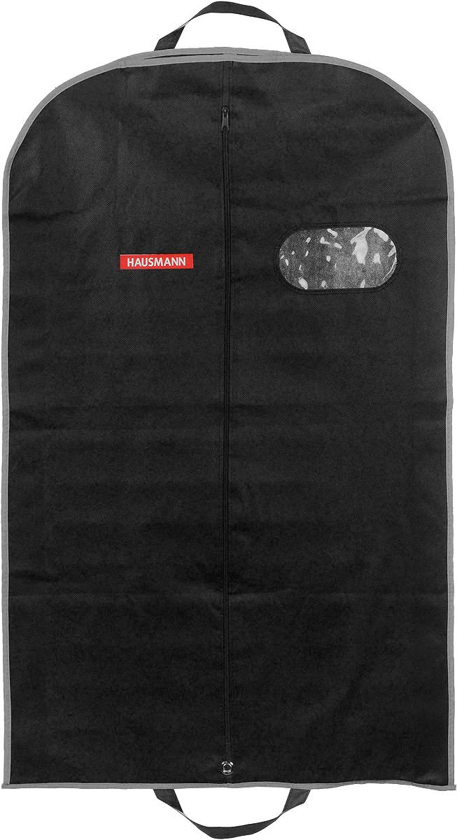 Чехол для одежды Hausmann, подвесной, с прозрачной вставкой, цвет: черный, 60 х 100 х 10 см чехол для одежды hausmann подвесной с прозрачной вставкой цвет серый 60 х 100 см