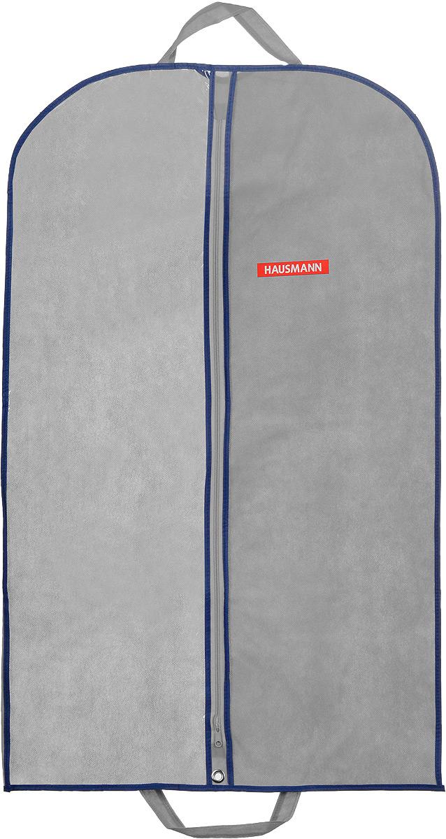 Чехол для одежды Hausmann, подвесной, с прозрачной вставкой, цвет: серый, 60 х 100 смБрелок для ключейПодвесной чехол для одежды Hausmann на застежке-молнии выполнен из высококачественного нетканого материала. Чехол снабжен прозрачной вставкой из ПВХ, что позволяет легко просматривать содержимое. Изделие подходит для длительного хранения вещей.Чехол обеспечит вашей одежде надежную защиту от влажности, повреждений и грязи при транспортировке, от запыления при хранении и проникновения моли. Чехол обладает водоотталкивающими свойствами, а также позволяет воздуху свободно поступать внутрь вещей, обеспечивая их кондиционирование. Это особенно важно при хранении кожаных и меховых изделий.Чехол для одежды Hausmann создаст уютную атмосферу в гардеробе. Лаконичный дизайн придется по вкусу ценительницам эстетичного хранения и сделают вашу гардеробную изысканной и невероятно стильной.Размер чехла (в собранном виде): 60 х 100 см.