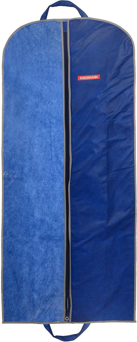 Чехол для одежды Hausmann, подвесной, с прозрачной вставкой, цвет: синий, 60 х 140 смV30 AC DCПодвесной чехол для одежды Hausmann на застежке-молнии выполнен из высококачественного нетканого материала. Чехол снабжен прозрачной вставкой из ПВХ, что позволяет легко просматривать содержимое. Изделие подходит для длительного хранения вещей.Чехол обеспечит вашей одежде надежную защиту от влажности, повреждений и грязи при транспортировке, от запыления при хранении и проникновения моли. Чехол обладает водоотталкивающими свойствами, а также позволяет воздуху свободно поступать внутрь вещей, обеспечивая их кондиционирование. Это особенно важно при хранении кожаных и меховых изделий.Чехол для одежды Hausmann создаст уютную атмосферу в гардеробе. Лаконичный дизайн придется по вкусу ценительницам эстетичного хранения и сделают вашу гардеробную изысканной и невероятно стильной.Размер чехла (в собранном виде): 60 х 140 см.