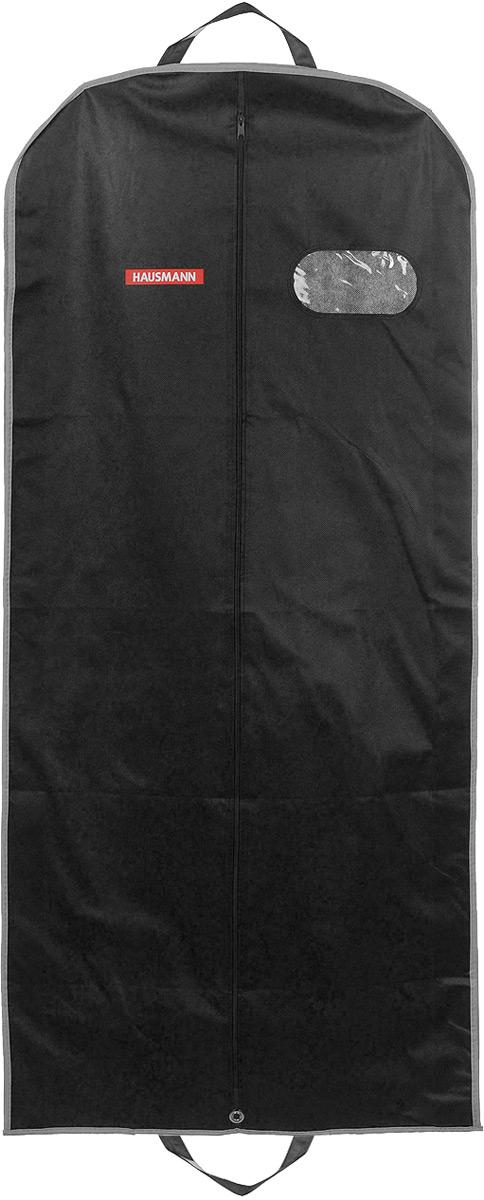 Чехол для одежды Hausmann, подвесной, с прозрачной вставкой, цвет: черный, 60 х 140 х 10 см чехол для одежды hausmann подвесной с прозрачной вставкой цвет серый 60 х 100 см