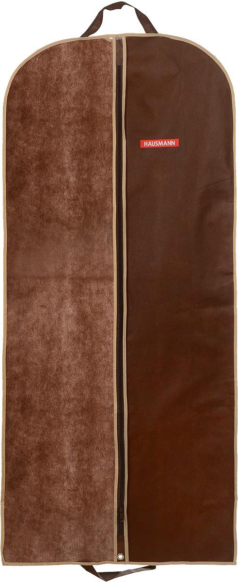 Чехол для одежды Hausmann, подвесной, с прозрачной вставкой, цвет: коричневый, 60 х 140 см1004900000360Подвесной чехол для одежды Hausmann на застежке-молнии выполнен из высококачественного нетканого материала. Чехол снабжен прозрачной вставкой из ПВХ, что позволяет легко просматривать содержимое. Изделие подходит для длительного хранения вещей.Чехол обеспечит вашей одежде надежную защиту от влажности, повреждений и грязи при транспортировке, от запыления при хранении и проникновения моли. Чехол обладает водоотталкивающими свойствами, а также позволяет воздуху свободно поступать внутрь вещей, обеспечивая их кондиционирование. Это особенно важно при хранении кожаных и меховых изделий.Чехол для одежды Hausmann создаст уютную атмосферу в гардеробе. Лаконичный дизайн придется по вкусу ценительницам эстетичного хранения и сделают вашу гардеробную изысканной и невероятно стильной.Размер чехла (в собранном виде): 60 х 140 см.
