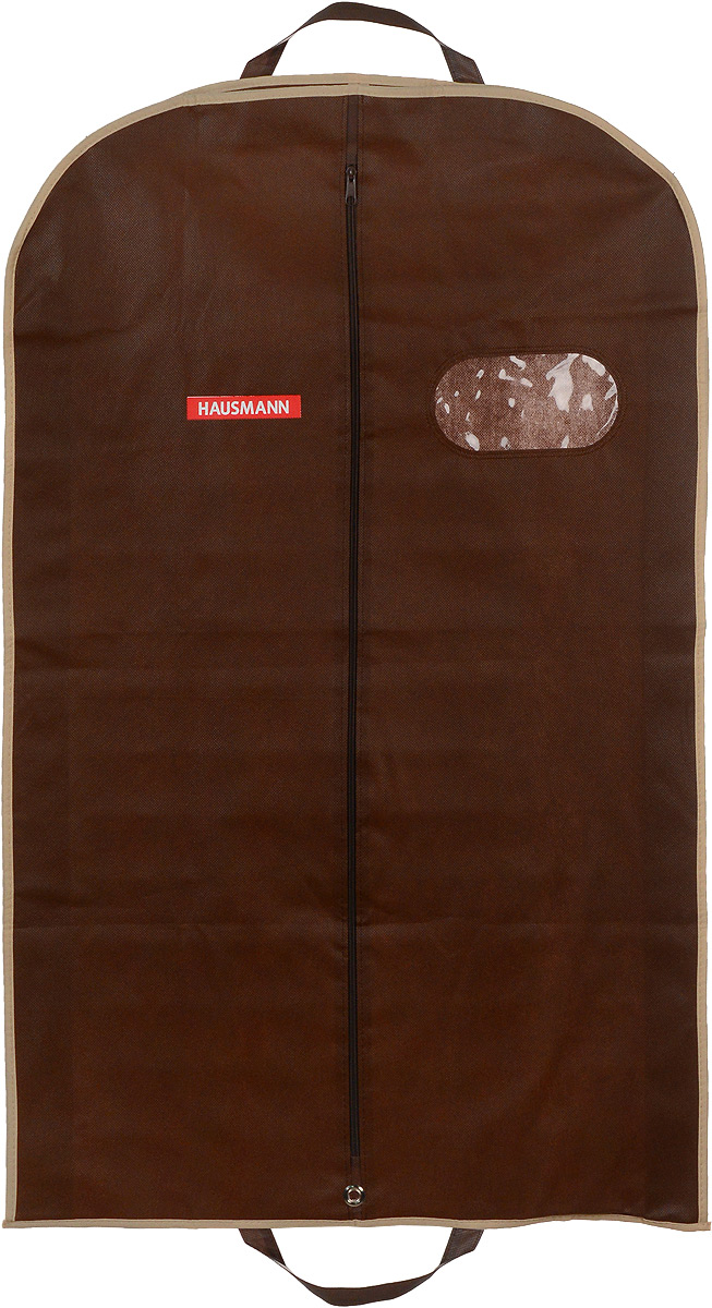 Чехол для одежды Hausmann, подвесной, с прозрачной вставкой, цвет: коричневый, 60 х 100 х 10 смRG-D31SПодвесной чехол для одежды Hausmann на застежке-молнии выполнен из высококачественного нетканого материала. Чехол снабжен прозрачной вставкой из ПВХ, что позволяет легко просматривать содержимое. Изделие подходит для длительного хранения вещей.Чехол обеспечит вашей одежде надежную защиту от влажности, повреждений и грязи при транспортировке, от запыления при хранении и проникновения моли. Чехол обладает водоотталкивающими свойствами, а также позволяет воздуху свободно поступать внутрь вещей, обеспечивая их кондиционирование. Это особенно важно при хранении кожаных и меховых изделий.Чехол для одежды Hausmann создаст уютную атмосферу в гардеробе. Лаконичный дизайн придется по вкусу ценительницам эстетичного хранения и сделают вашу гардеробную изысканной и невероятно стильной.Размер чехла (в собранном виде): 60 х 100 х 10 см.