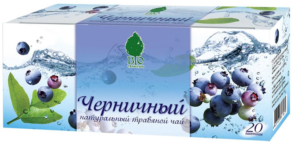 BioTradition Черничный травяной чай в пакетиках, 20 шт4607099306271Травяной чай BioTradition Черничный содержит большой комплекс биологически активных веществ, нормализует уровень сахара в крови, применяется для профилактики избыточного веса и диабета, снимает усталость.Обладает закрепляющим, вяжущим, противовоспалительным, обезболивающим, общеукрепляющим действием.