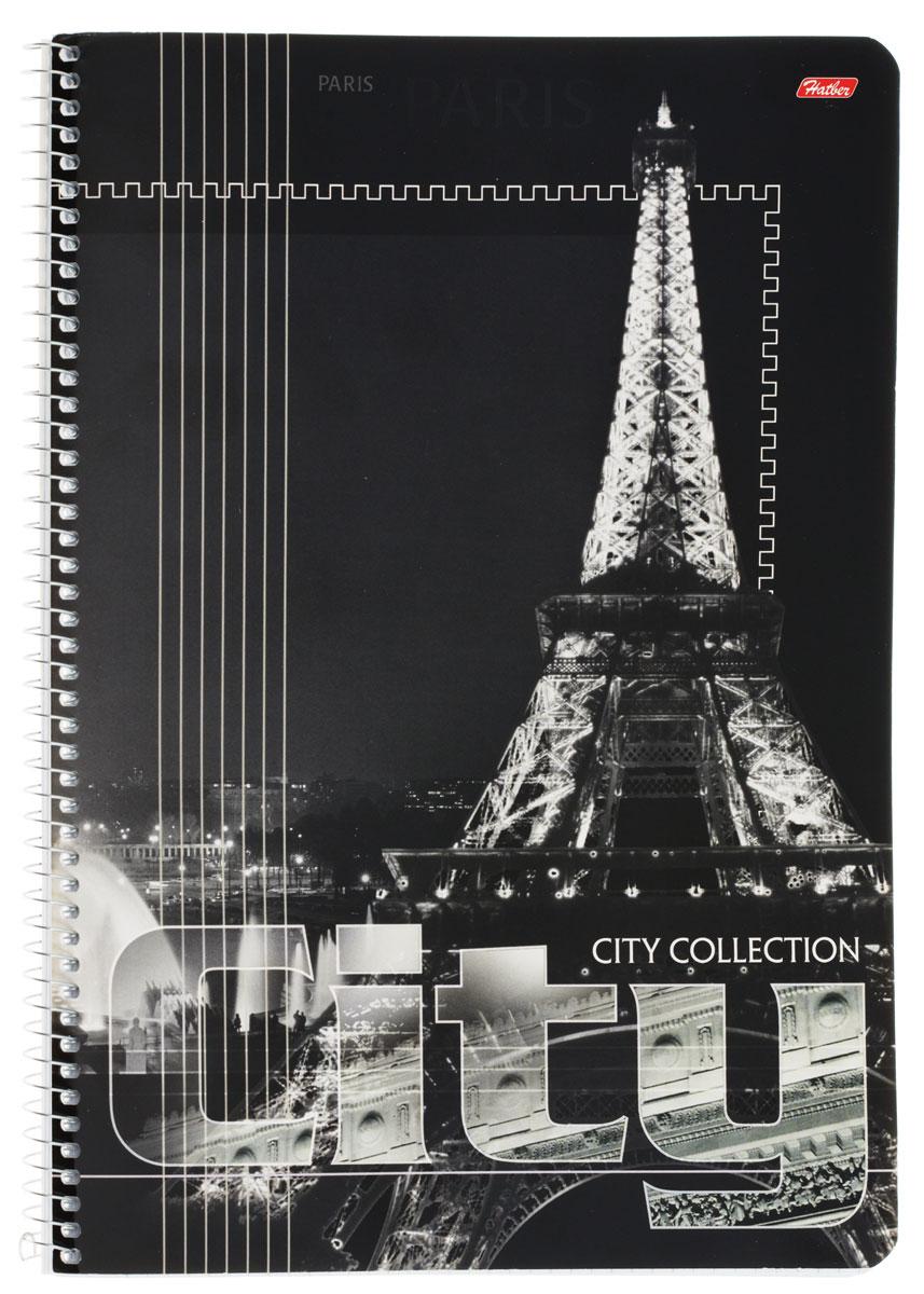 Hatber Тетрадь City Collection Paris 80 листов в клетку80Т4B3Тетрадь Hatber City Collection: Paris отлично подойдет для занятий как школьнику старших классов, так и студенту.Стильная обложка в черно-белых тонах с изображением Эйфелевой башни, выполненная из плотного мелованного картона, позволит сохранить тетрадь в аккуратном состоянии на протяжении всего времени использования.Внутренний блок тетради, соединенный спиралью, состоит из 80 листов белой бумаги в голубую клетку без полей.