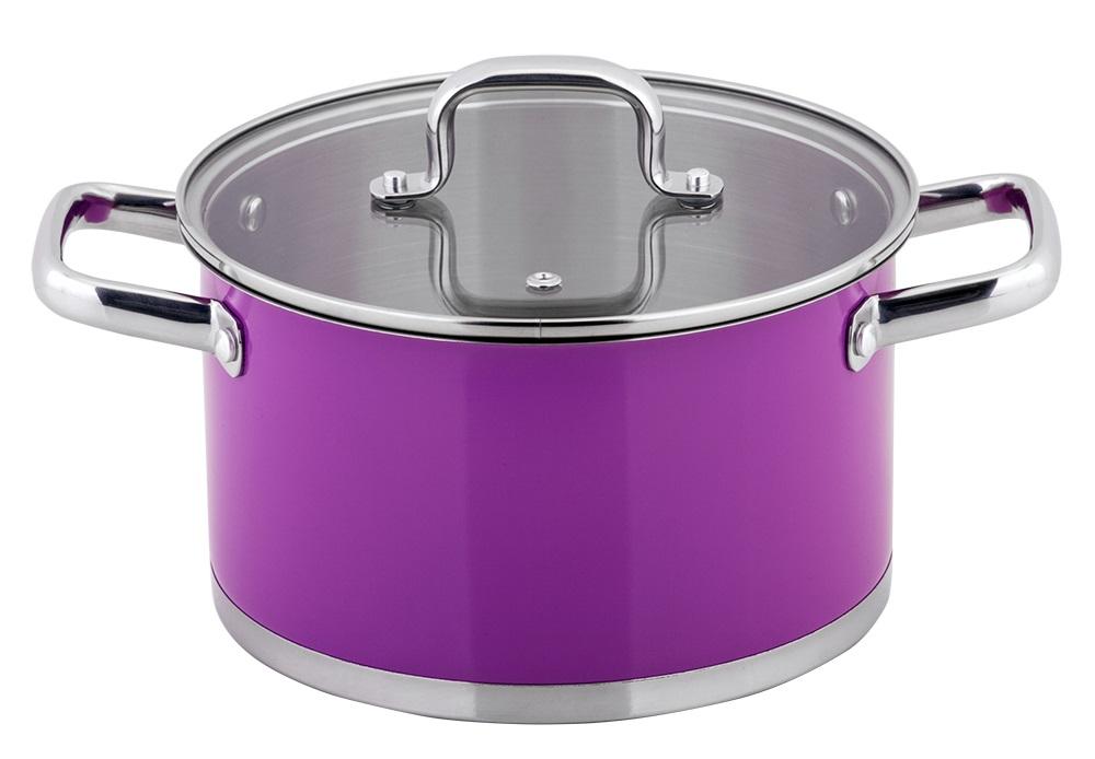 Кастрюля Esprado Colorido с крышкой, цвет: фиолетовый, серебристый, 6 лSOML24PE101Кастрюля Esprado Colorido, изготовленная из высококачественной нержавеющей стали с внешним цветным керамическим покрытием, имеет трехслойное теплоаккумулирующее дно. Внешнее покрытие не только эстетично, но и функционально: входящие в его состав частицы песка обеспечивают равномерное распределение жара и ускоряют процесс приготовления блюда. Внутри - зеркальная полировка с отметками литража для точного соблюдения рецепта. Особая конструкция дна способствует высокой теплопроводности и равномерному распределению тепла. Материал удерживает тепло по всей поверхности изделия, благодаря чему пища равномерно и быстро нагревается. Кастрюля оснащена двумя удобными стальными ручками. Крышка, выполненная из термостойкого стекла, позволит вам следить за процессом приготовления пищи. Крышка оснащена металлическим ободом и отверстием для выпуска пара. Кастрюля идеальна для приготовления здоровой пищи с минимальным количеством жира, что обеспечивает снижение потери полезных витаминов, минеральных веществ и сохраняет аромат приготовляемых блюд. Кастрюлю можно использовать на любых видах плит, включая индукционные. Нельзя мыть в посудомоечной машине.Диаметр кастрюли (по верхнему краю): 24 см.Высота стенок кастрюли: 13,5 см.