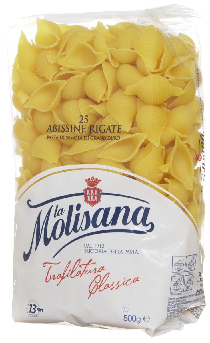 La Molisana Abissine Rigate ракушки рифленые макаронные изделия 500 г0120710Макароны - ракушки La Molisana Abissine Rigate высшего сорта изготовлены из муки твердых сортов, содержащей чуть меньшее количество клейковины, чем обыкновенная мука. Она хорошо поглощает воду, макароны из нее при варке увеличиваются и не развариваются. Эти макаронные изделия станут великолепным гарниром в сочетании с разнообразными соусами или отличным самостоятельным блюдом для истинных любителей итальянских макарон!