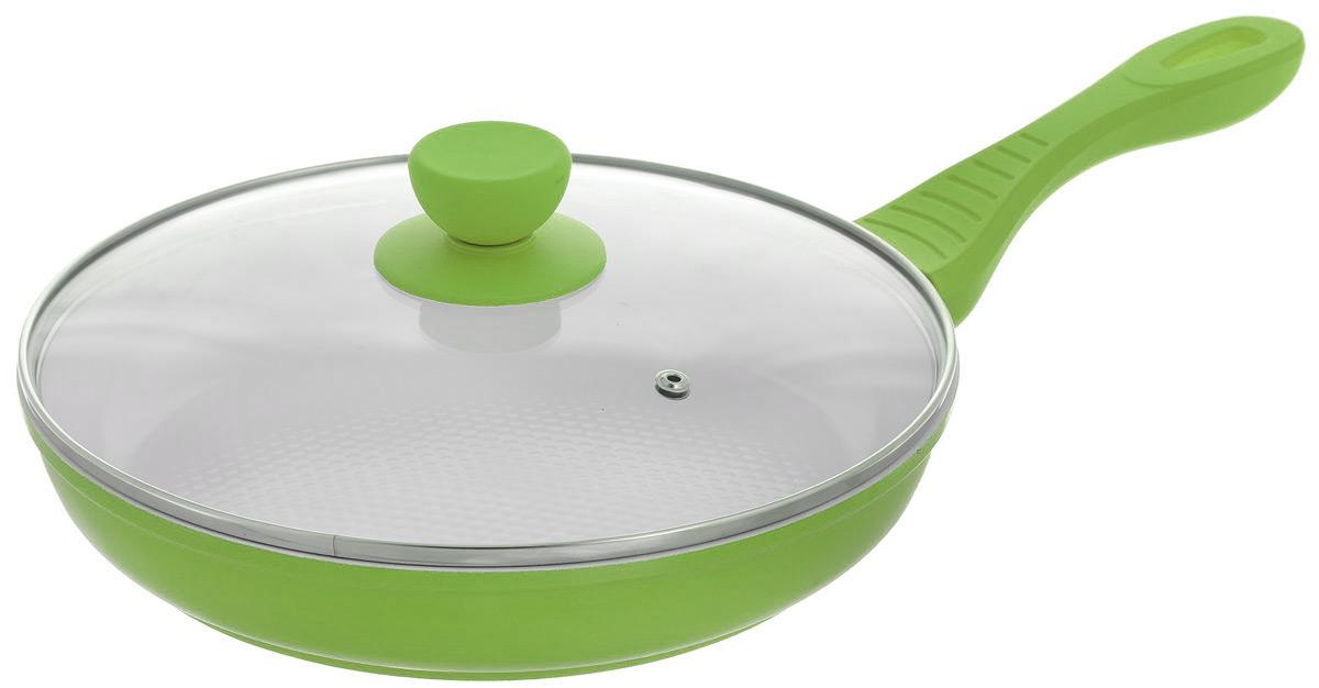 Сковорода Bohmann с крышкой, с керамическим покрытием, цвет: зеленый. Диаметр 26 см. 7026BH/WC54 009312Сковорода Bohmann изготовлена из литого алюминия с антипригарным керамическим покрытием белого цвета. Внешнее покрытие - жаростойкий лак, который сохраняет цвет долгое время. Благодаря керамическому покрытию пища не пригорает и не прилипает к поверхности сковороды, что позволяет готовить с минимальным количеством масла. Рифленая внутренняя поверхность сковороды обеспечивает быстрое и легкое приготовление. Достоинства керамического покрытия: - устойчивость к высоким температурам и резким перепадам температур, - устойчивость к царапающим кухонным принадлежностям и абразивным моющим средствам, - устойчивость к коррозии, - водоотталкивающий эффект, - покрытие способствует испарению воды во время готовки, - длительный срок службы, - безопасность для окружающей среды и человека. Сковорода быстро разогревается, распределяя тепло по всей поверхности, что позволяет готовить в энергосберегающем режиме, значительно сокращая время, проведенное у плиты. Сковорода оснащена удобной ручкой, выполненной из бакелита с термостойким силиконовым покрытием. Такая ручка не нагревается в процессе готовки и обеспечивает надежный хват. Крышка изготовлена из жаропрочного стекла, оснащена ручкой и металлическим ободом. Благодаря такой крышке можно следить за приготовлением пищи без потери тепла. Подходит для всех типов плит, в том числе для индукционных. Подходит для чистки в посудомоечной машине.Высота стенки: 4,5 см. Толщина стенки: 3 мм.Длина ручки: 19 см.Диаметр индукционного диска: 17,5 см.