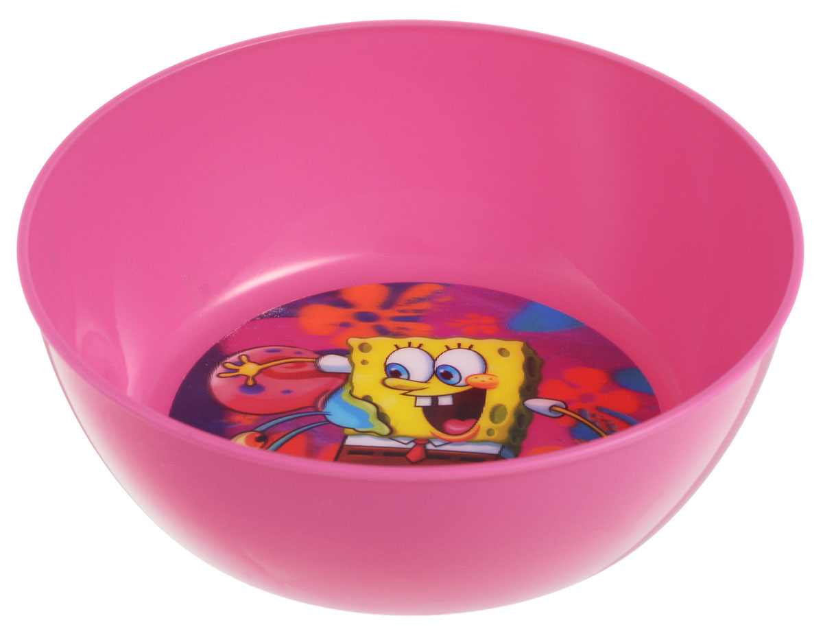 Губка Боб Миска детская 3D цвет розовый диаметр 15 см