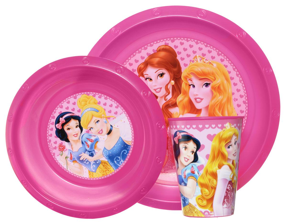 Disney Набор детской посуды Princess 3 предмета4/413_розовый/котенокКрасочный набор посуды Disney Princesss, выполненный из качественного полипропилена, идеально подойдет для повседневного использования.В комплект входят: тарелка диаметром 23 см, миска диаметром 16 см и стаканчик объемом 270 мл. Все предметы выполнены в оригинальном дизайне с изображениями принцесс Disney.Набор посуды непременно доставит массу удовольствия своему обладателю.