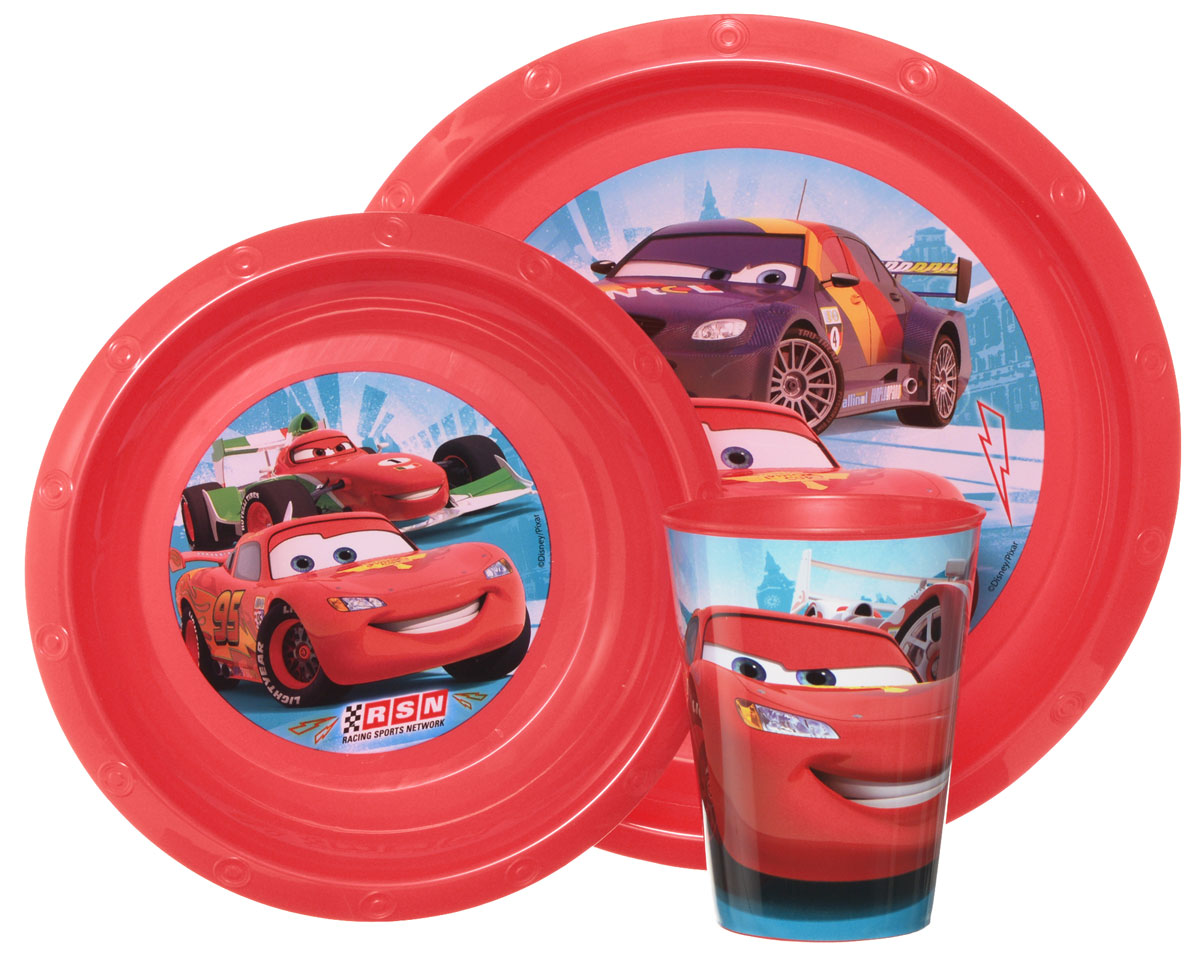 Disney Набор детской посуды Cars 3 предметаT280-01RКрасочный набор посуды Disney Cars, выполненный из качественного полипропилена, идеально подойдет для повседневного использования.В комплект входят: тарелка диаметром 23 см, миска диаметром 16 см и стаканчик объемом 270 мл. Все предметы выполнены в оригинальном дизайне с изображениями героев мультфильма Тачки.Набор посуды непременно доставит массу удовольствия своему обладателю.