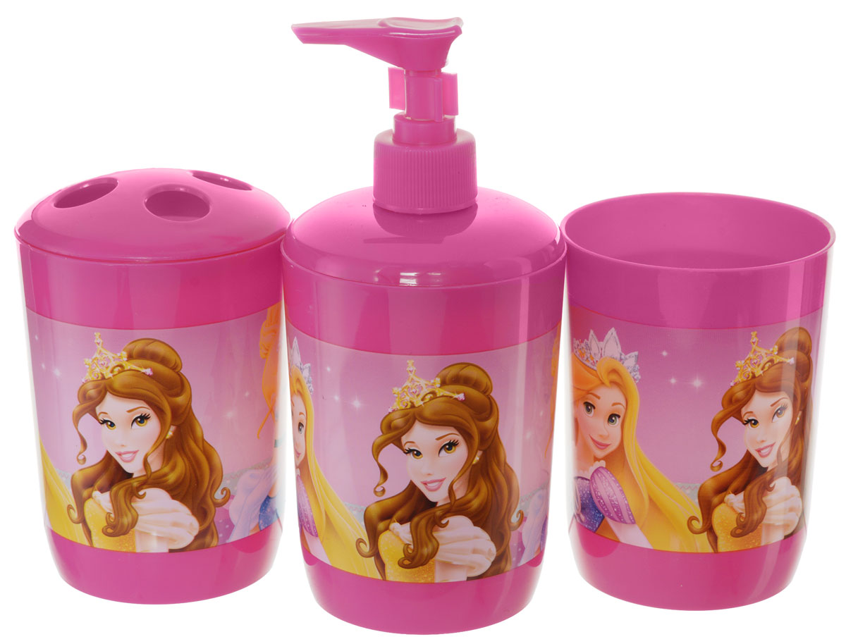 Disney Набор для ванной Princess 3 предмета810376Набор для ванной Disney Princess, выполненный из высококачественного полипропилена, состоит из дозатора для жидкого мыла, стаканчика объемом 340 мл и стакана для зубных щеток с четырьмя отверстиями. Все предметы набора декорированы оригинальными изображениями принцесс из мультфильмов Disney. Яркие аксессуары для ванной не только приучают ребенка хранить в порядке банные принадлежности, но и порадуют его забавными картинками.