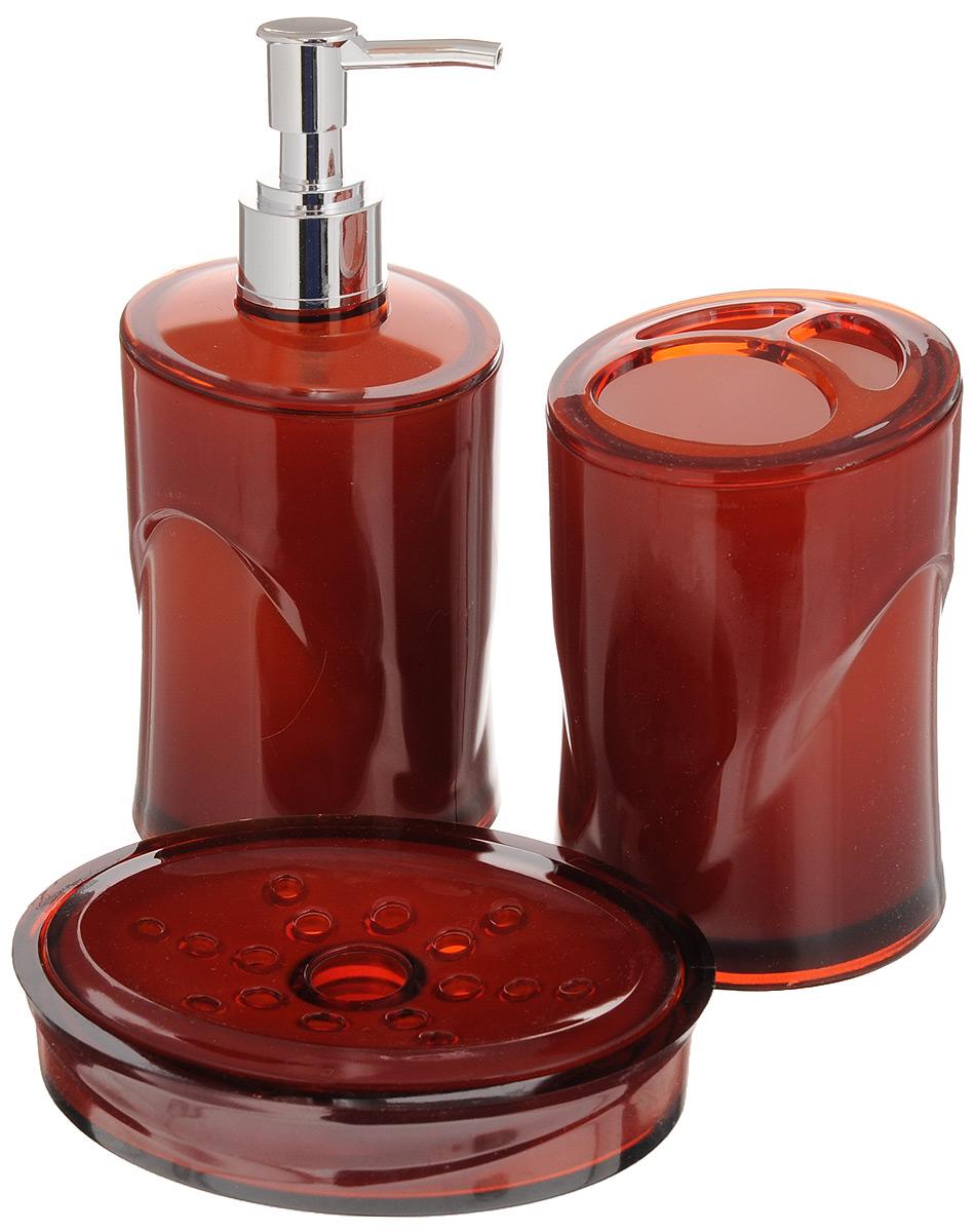 Набор для ванной комнаты Indecor, цвет: терракотовый, 3 предмета68/5/3Набор для ванной комнаты Indecor состоит из стакана для зубных щеток, дозатора для жидкого мыла и мыльницы. Стакан, дозатор и мыльница изготовлены из высококачественного полистирола. Аксессуары, входящие в набор Indecor, выполняют не только практическую, но и декоративную функцию. Они способны внести в помещение изысканность, сделать пребывание в нем приятным и даже незабываемым. Размер стакана для щеток: 7 х 7 х 11см. Размер дозатора: 7 х 7 х 17,5 см. Размер мыльницы: 11,5 х 9 х 3 см.