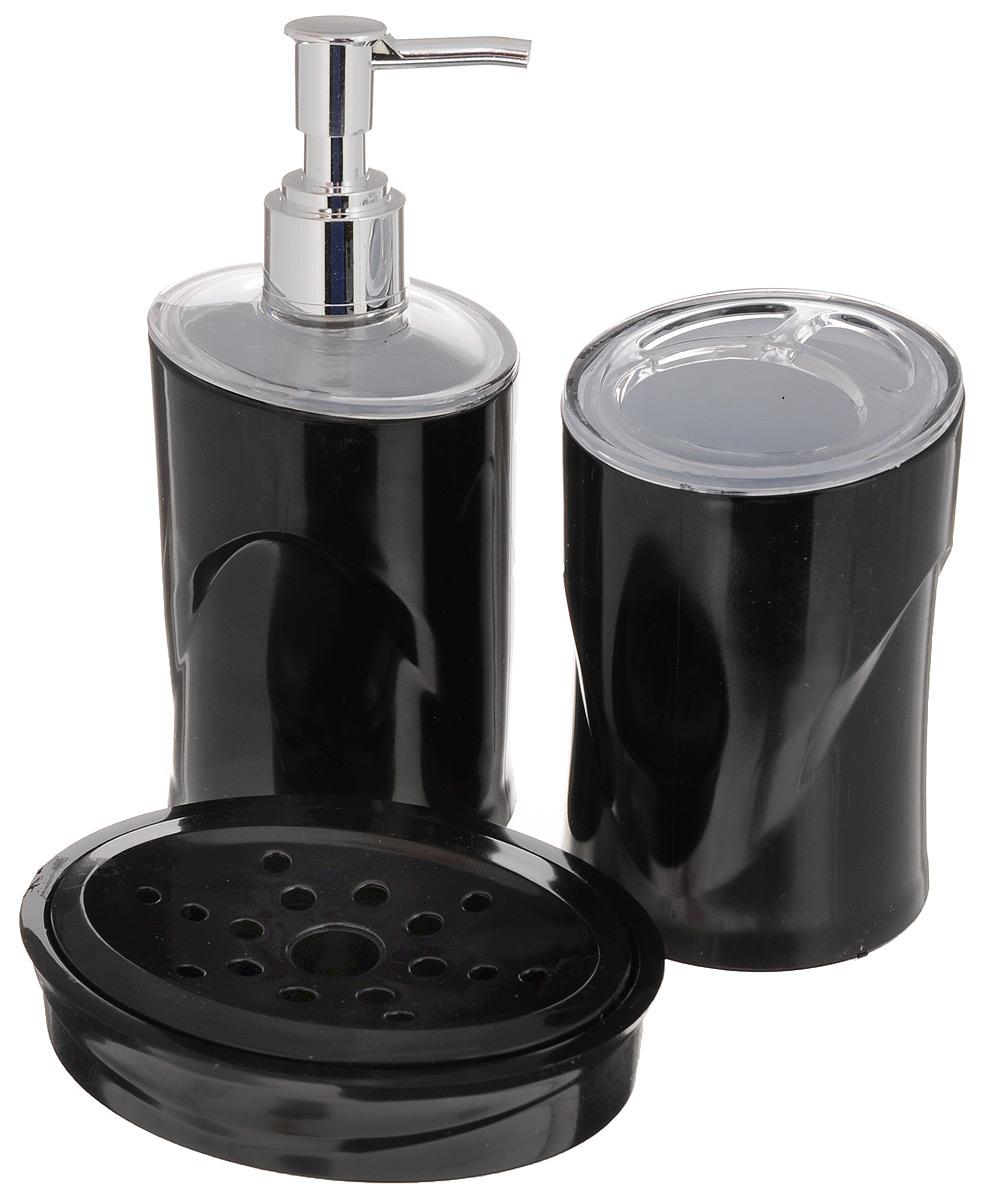 Набор для ванной комнаты Indecor, цвет: черный, 3 предмета531-105Набор для ванной комнаты Indecor состоит из стакана для зубных щеток, дозатора для жидкого мыла и мыльницы. Стакан, дозатор и мыльница изготовлены из высококачественного полистирола. Аксессуары, входящие в набор Indecor, выполняют не только практическую, но и декоративную функцию. Они способны внести в помещение изысканность, сделать пребывание в нем приятным и даже незабываемым. Размер стакана для щеток: 7 х 7 х 11см. Размер дозатора: 7 х 7 х 17,5 см. Размер мыльницы: 11,5 х 9 х 3 см.