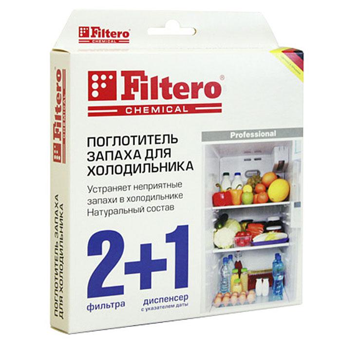 Filtero поглотитель запаха для холодильника, 2 шт + диспенсер504Поглотитель запаха для холодильниковFiltero быстро и надежно устраняет неприятные запахи. Содержит активированный уголь и крахмаловую пропитку. Полностью поглощает даже резкие запахи чеснока, лука, сыра и рыбы. Не имеет собственного запаха. В комплекте 2 фильтра и диспенсер с возможностью установки даты. Фильтр рассчитан на использование в течение около 2-х месяцев. После этого срока необходимо заменить фильтр в диспенсере. Набор: два фильтра и диспенсер с установкой даты