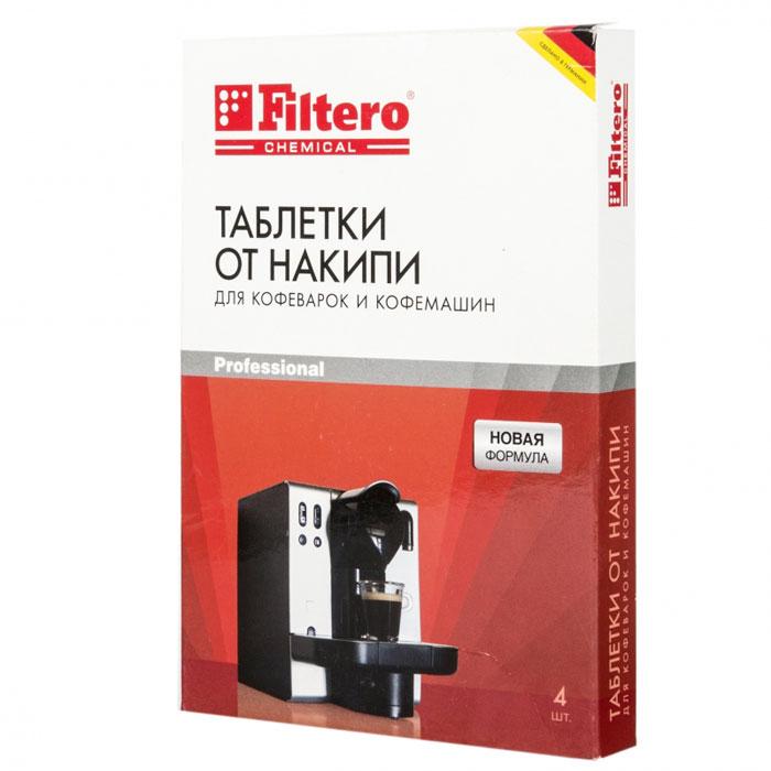Filtero Таблетки для очистки кофемашин от накипи, 4 шт1.645-370.0Таблетки от накипи Filtero разработаны специально для кофемашин. Они обеспечивают быстрое и тщательное удаление известкового налета с труднодоступных частей кофемашины. Таблетки Filtero подходят для всех автоматических кофемашин. Кофемашины с автоматической программой очистки: загрузите таблетку Filtero в кофемашину и проведите чистку согласно инструкции производителяКофемашины без автоматической программы очистки: растворите таблетку Filtero в 500 мл воды. Вылейте раствор в резервуар для воды. Включите программу приготовления кофе. После чистки от накипи ополосните внутренние части машины, запустив 2-3 раза кофеварку на полный цикл с чистой водой. Размер таблетки 36 х 26 х 7 мм